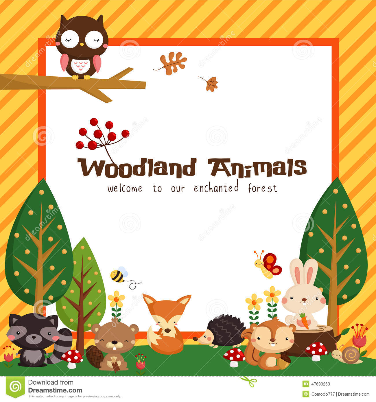 Woodland Animal Card Stock Vector Image 47690263