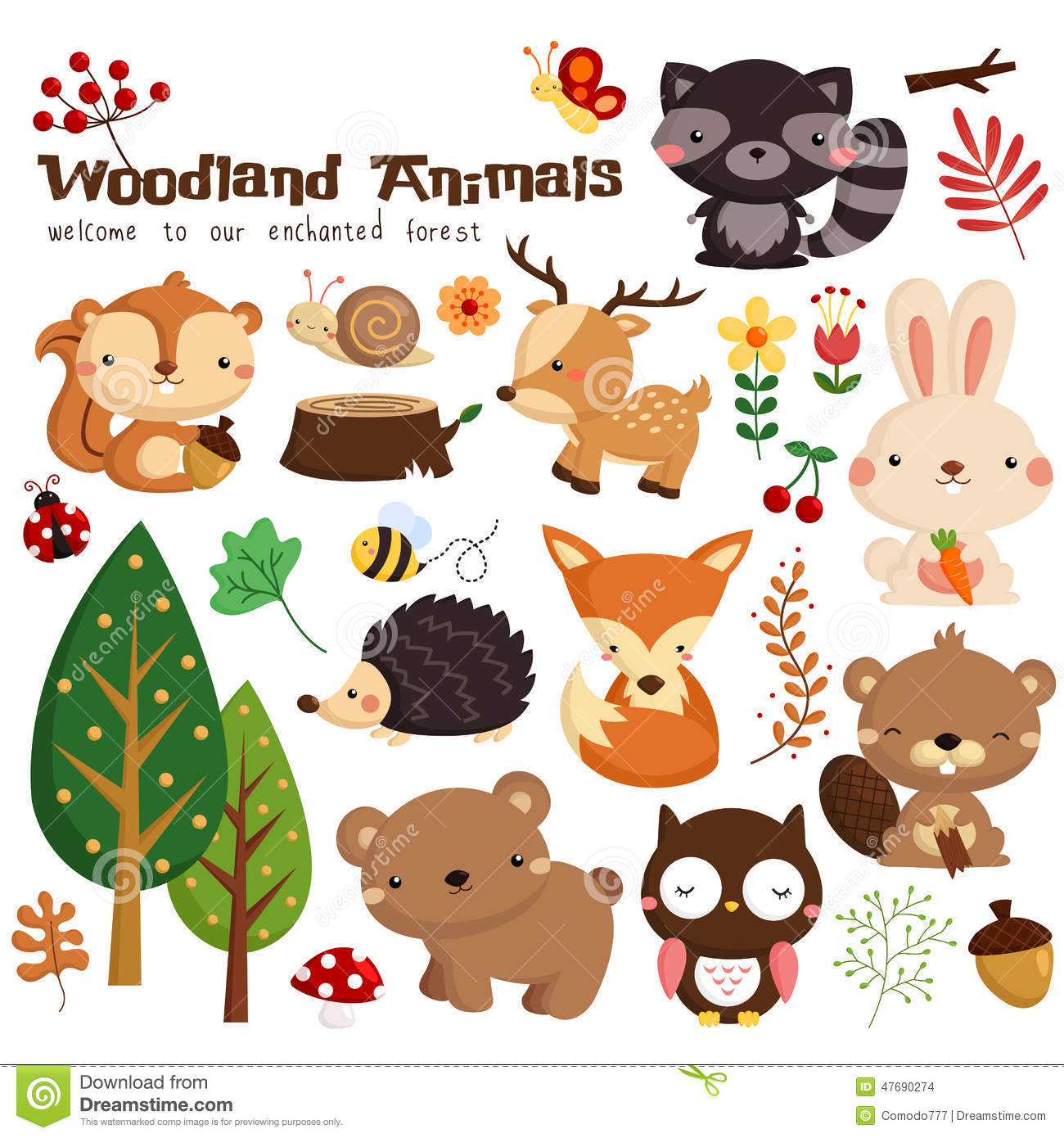 Zoo scene coloring pages zoo scene coloring pages page 1 coloring - Woodland Animal Vector Set Stock Vector Image 47690274