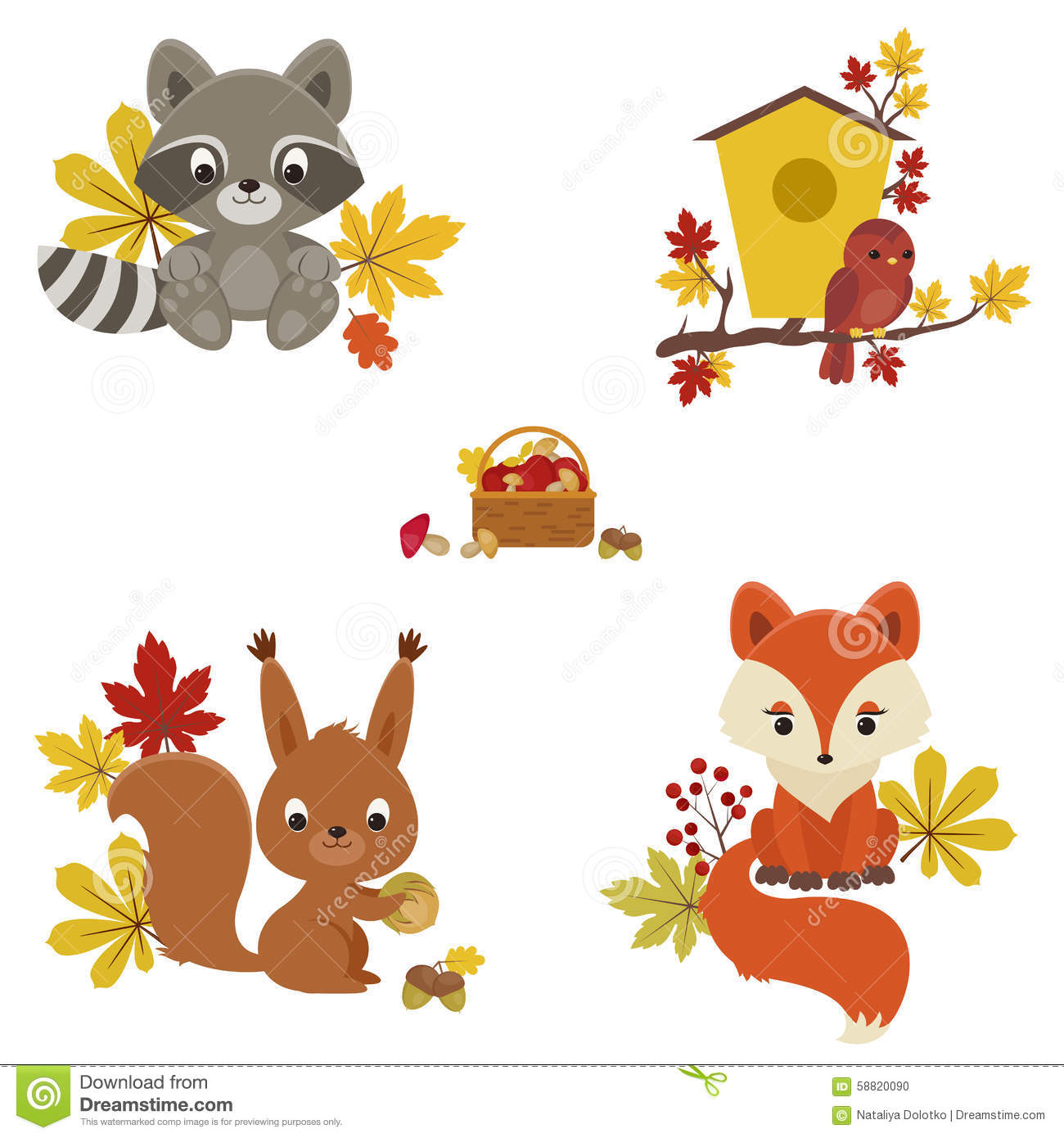 Woodland Animals In Autumn Time Stock Vector Image