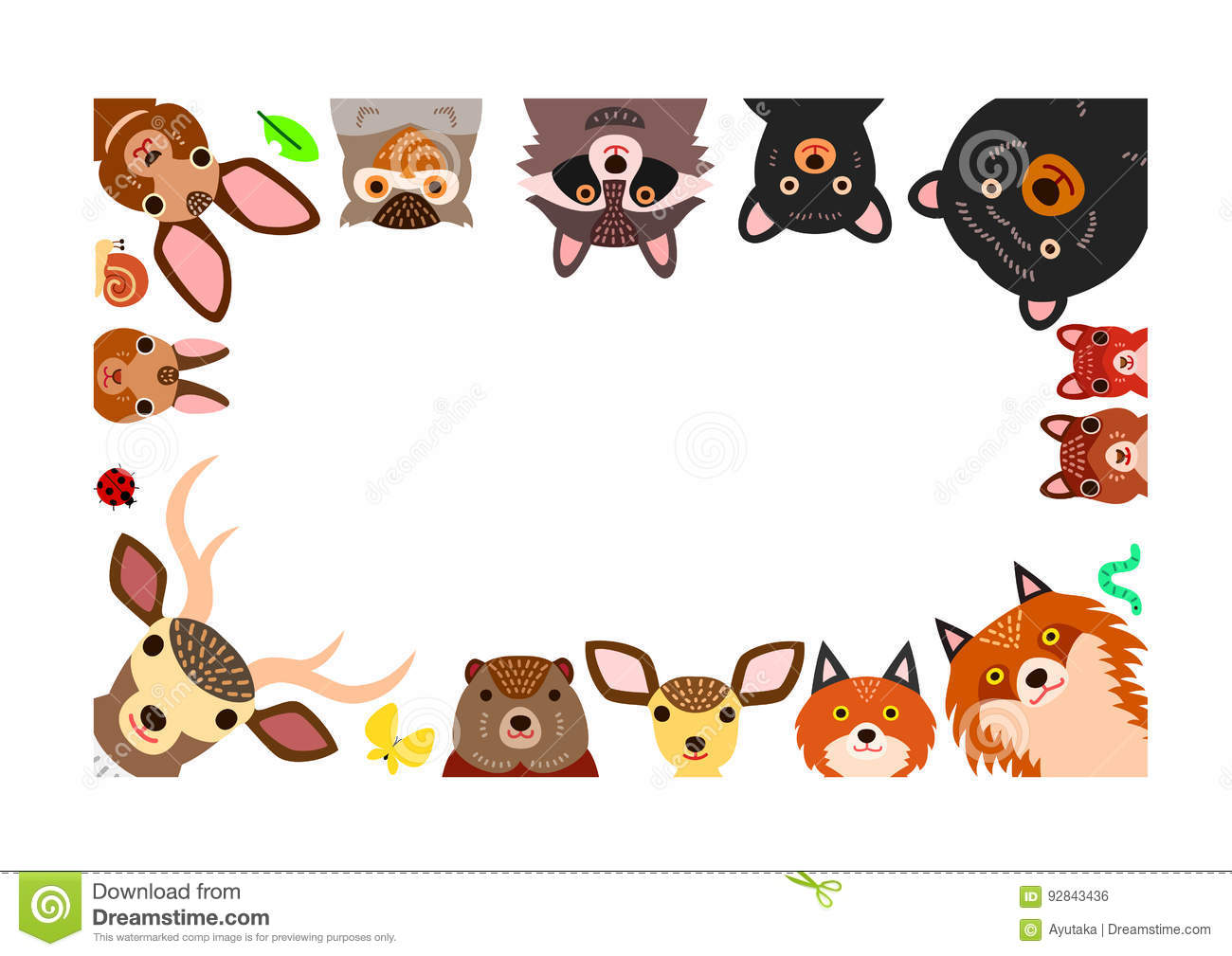 Woodland Animals Frame Isolated On White Stock Vector
