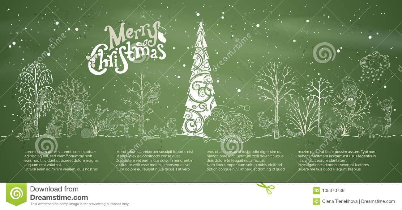 Vector chalk Merry Christmas background.