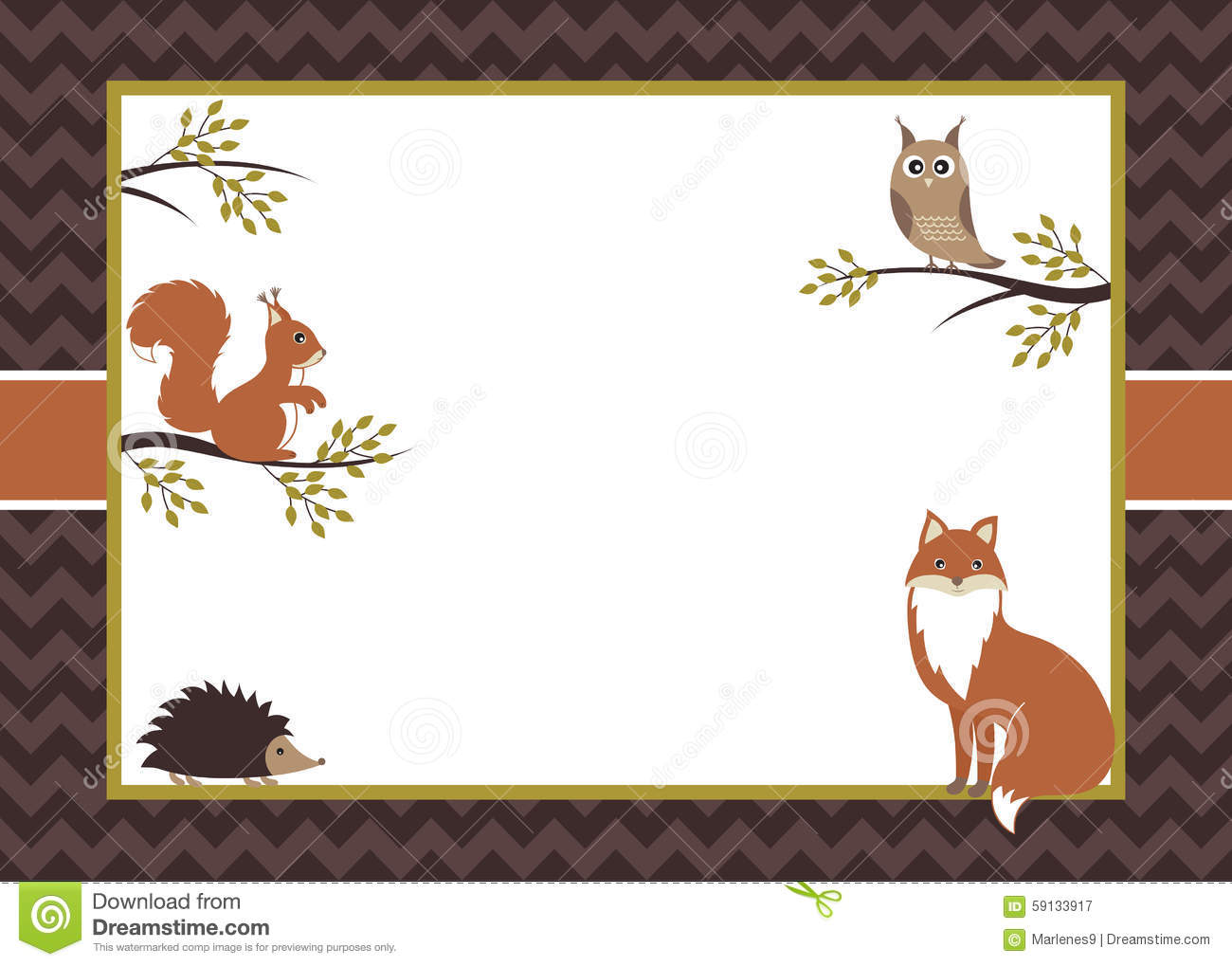 woodland card stock vector  illustration of invitation