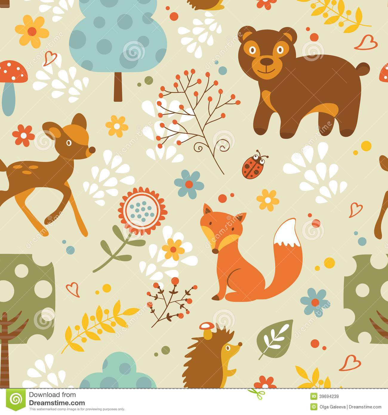 Colorful woodland animals seamless pattern.