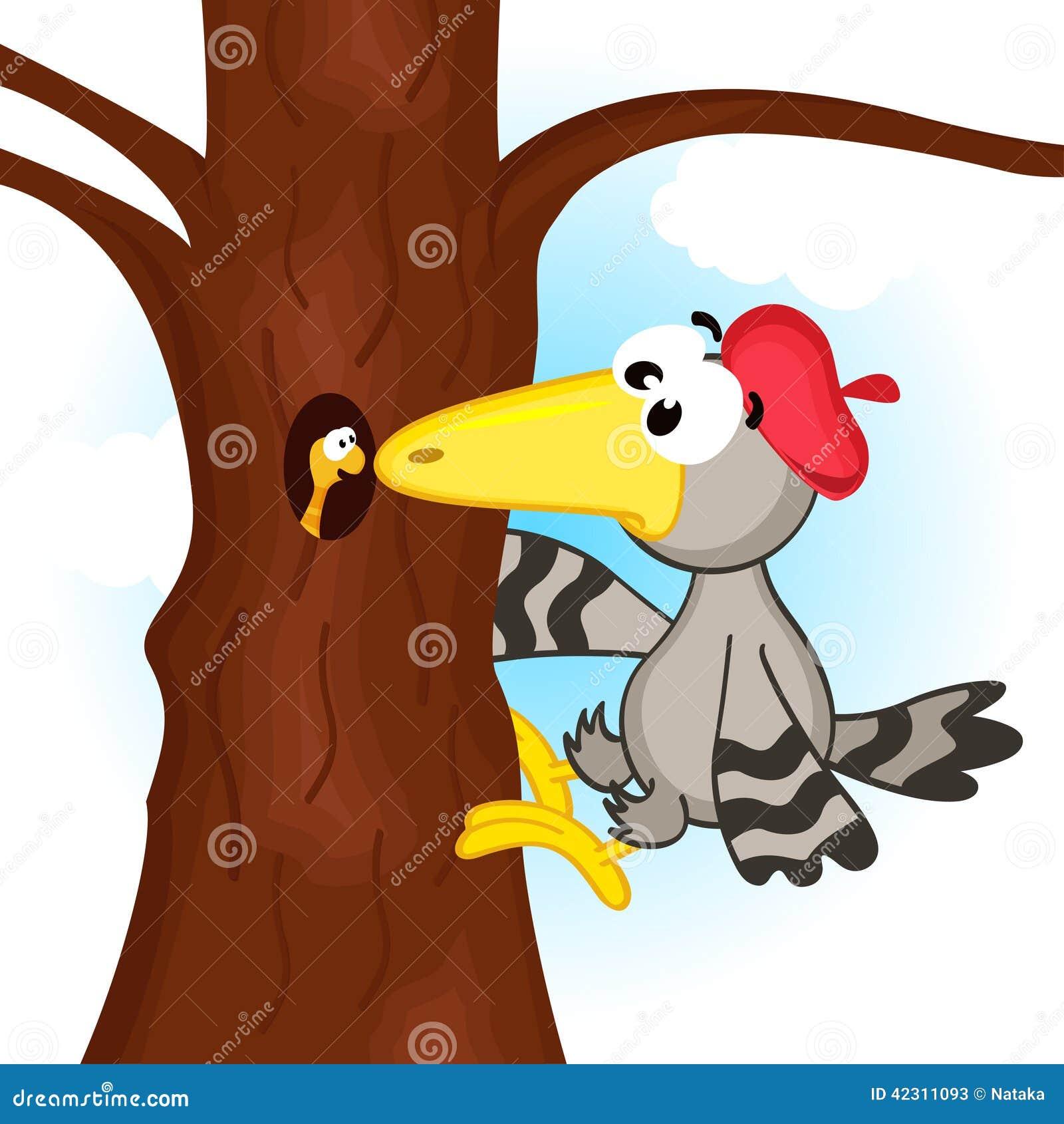 Woodpecker On Tree Stock Vector - Image: 42311093