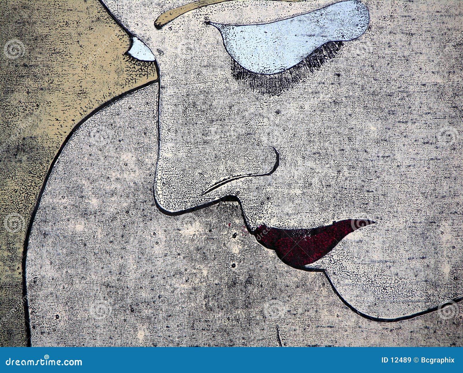 Woodprint de un retrato triste de la mujer
