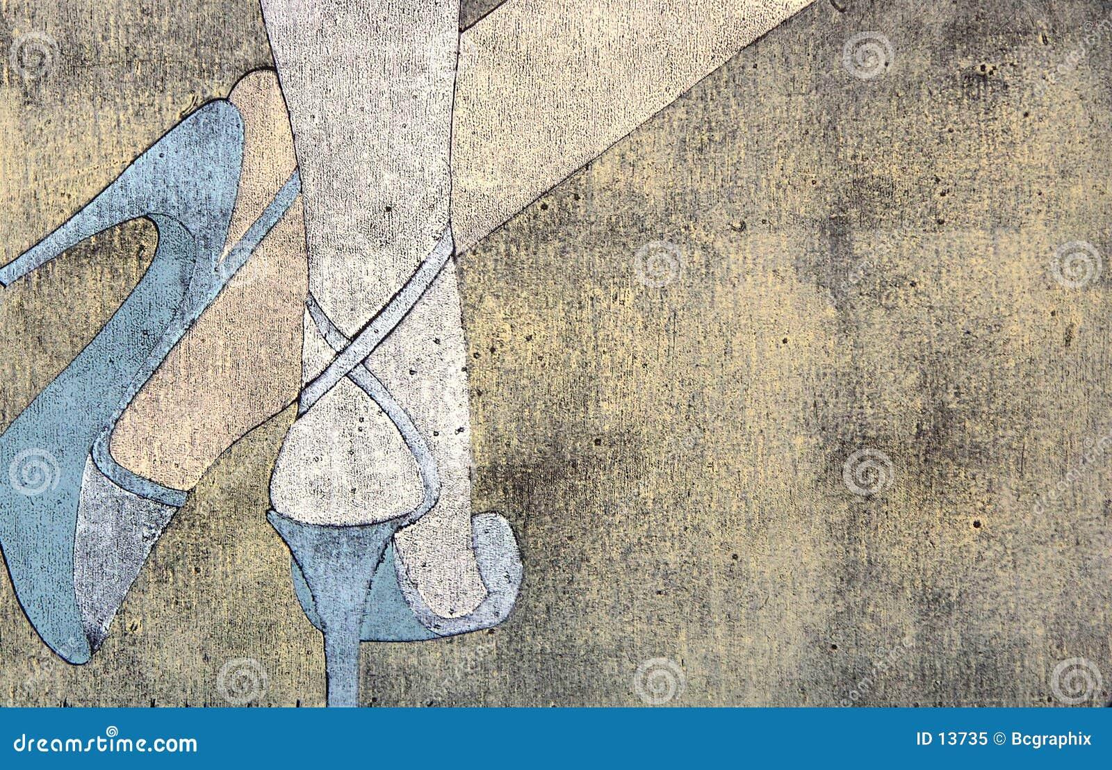 Woodprint der Fahrwerkbeine der Frau, die Sandelholze tragen