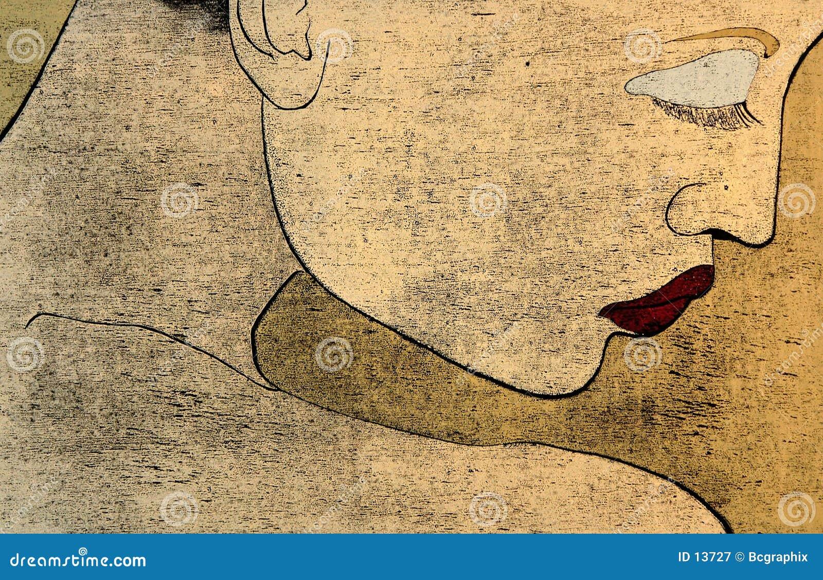 Woodprint - portait de una mujer