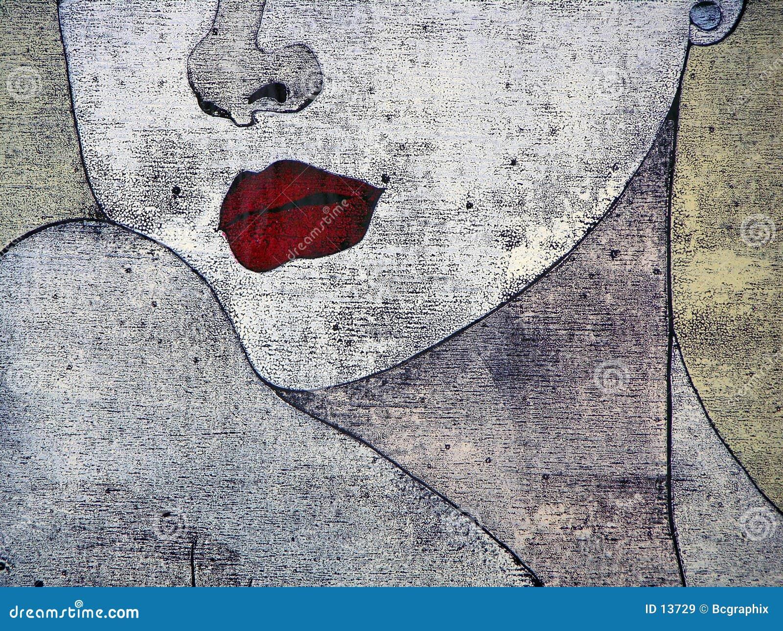 Woodprint - portait van een vrouw
