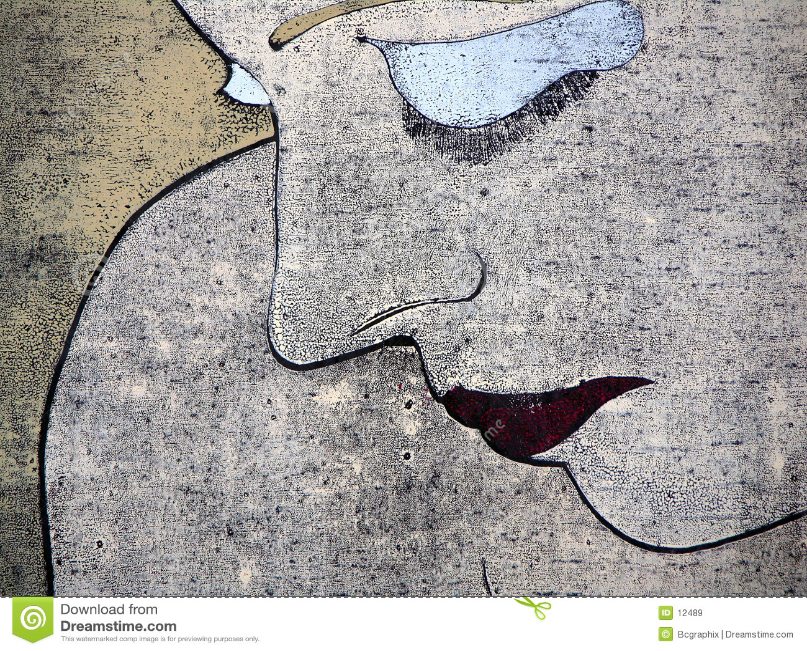 Woodprint van een droevig vrouwenportret