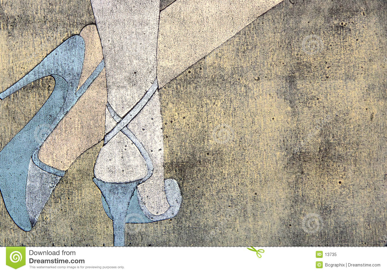 Woodprint of woman s legs wearing sandals