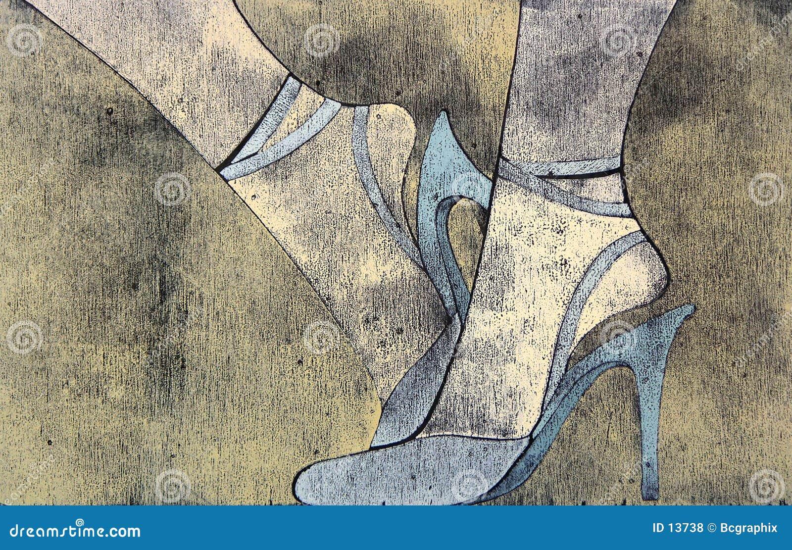 Woodprint of woman s legs wearing sandals.