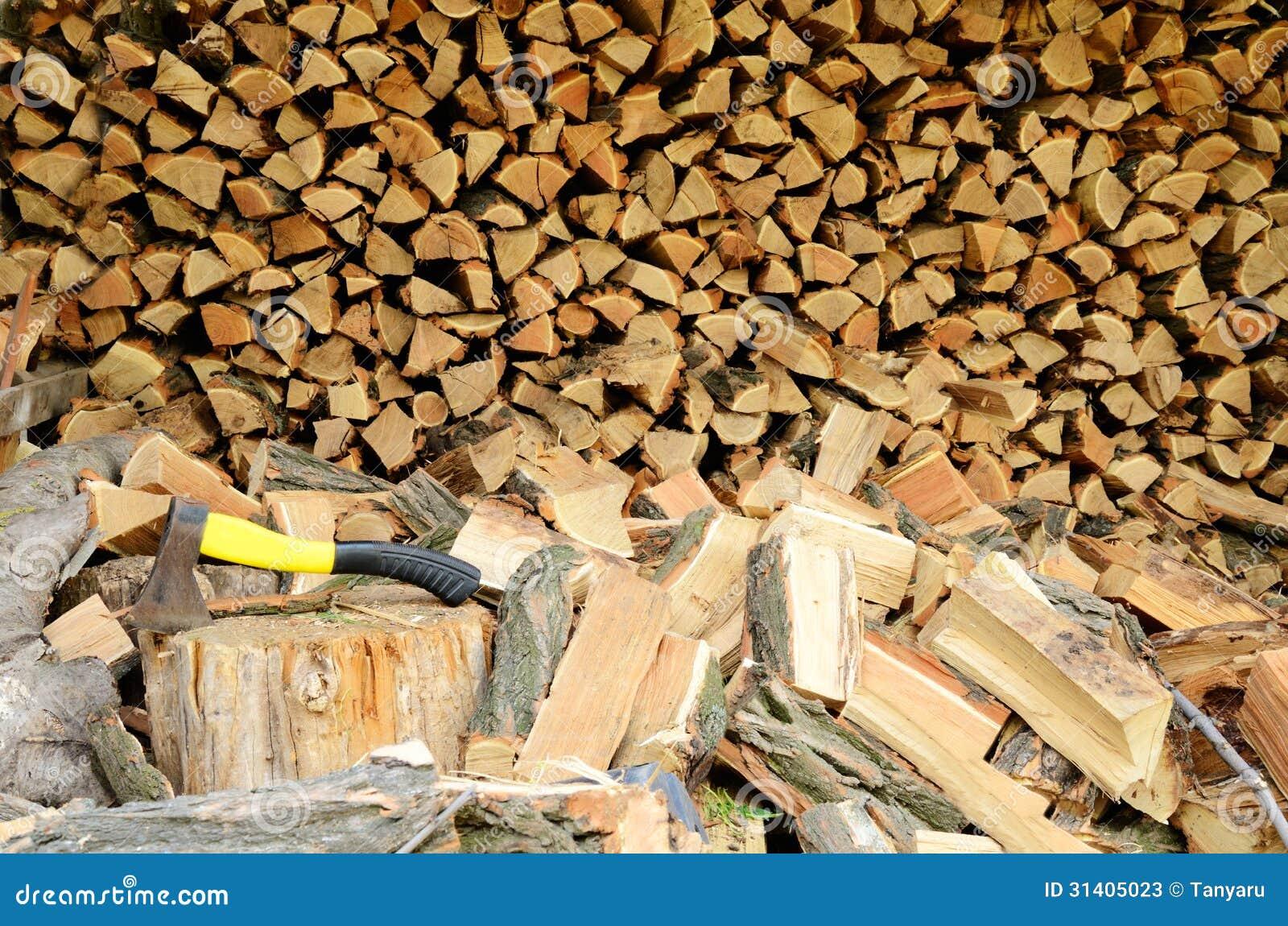 Firewood and ax stock photos image