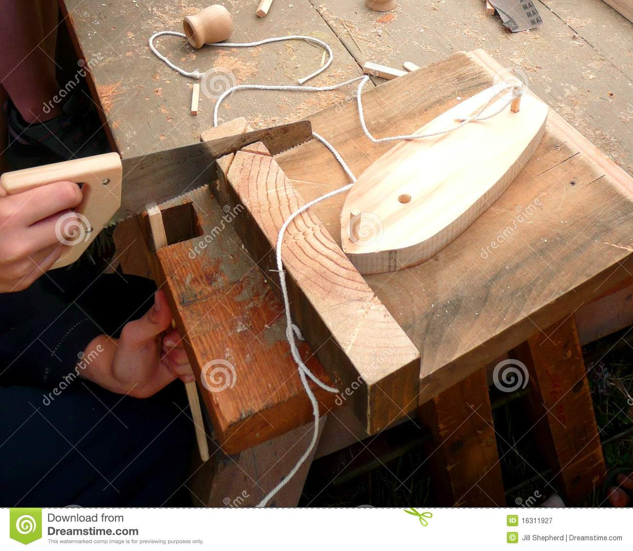 Woodwork: Boy Making A Model Boat Royalty Free Stock Photography ...