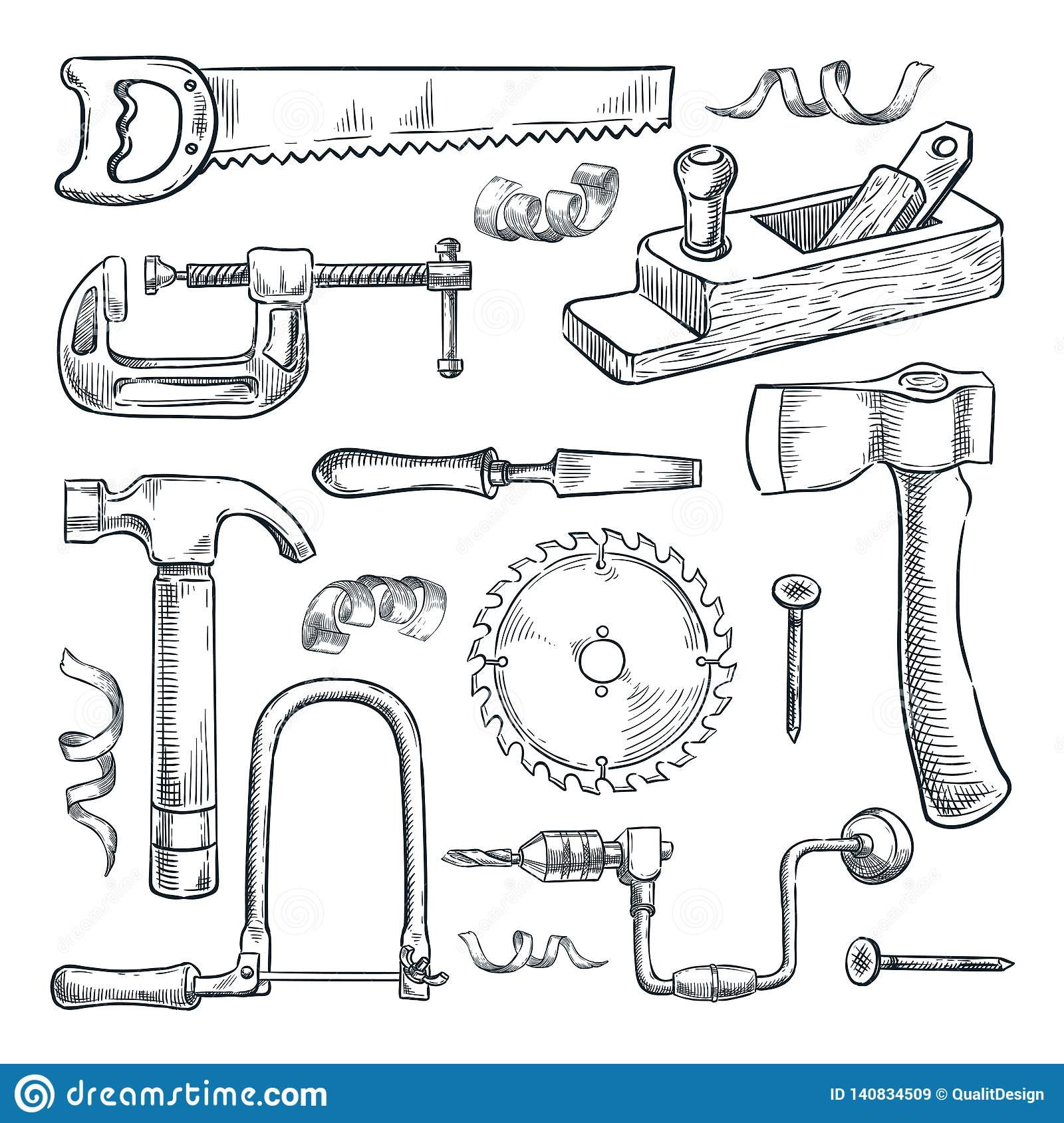 woodwork and carpentry tools set. vector sketch illustration