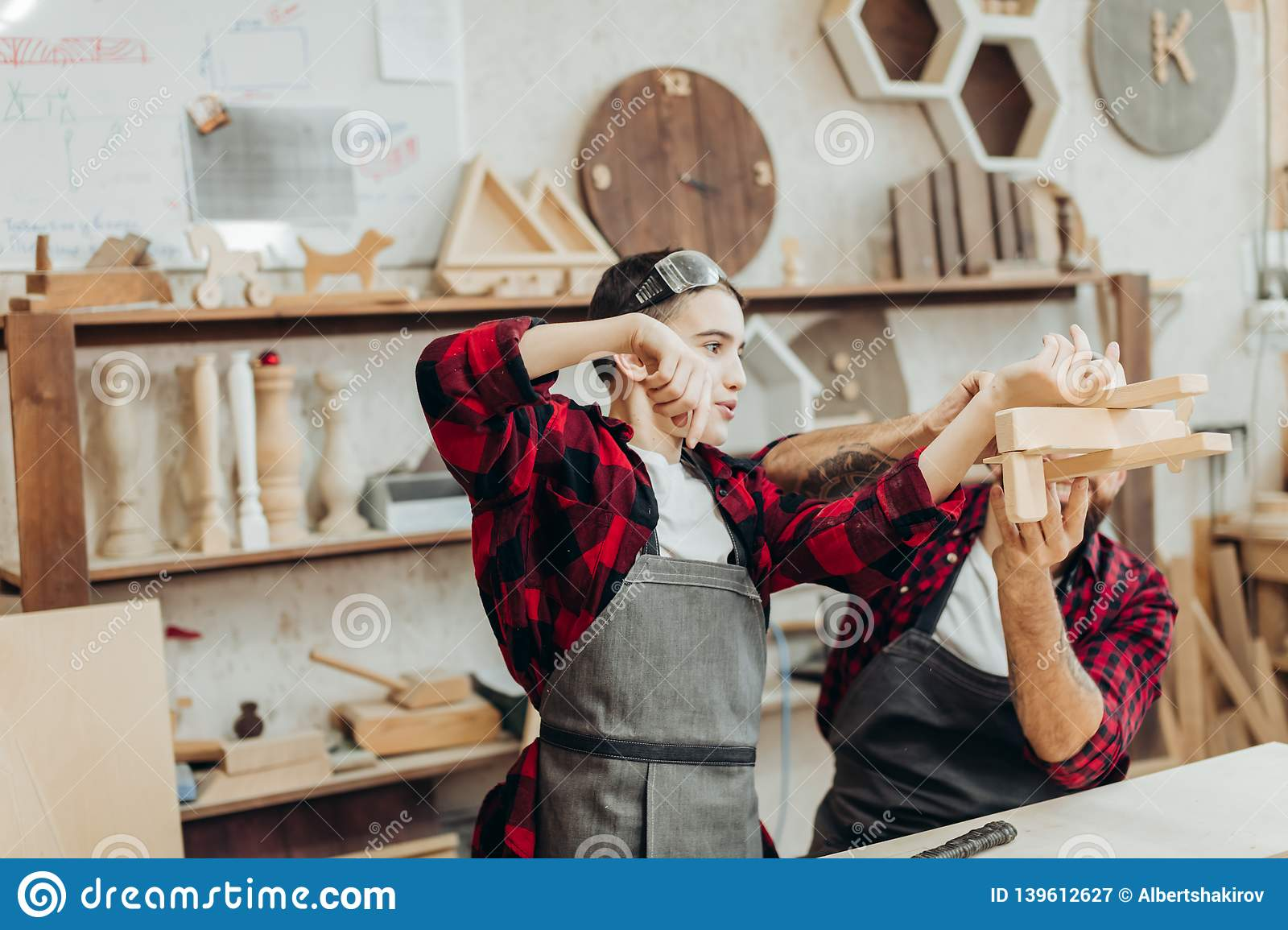 Woodwork Classes For Children And Creativity Concept Stock Image