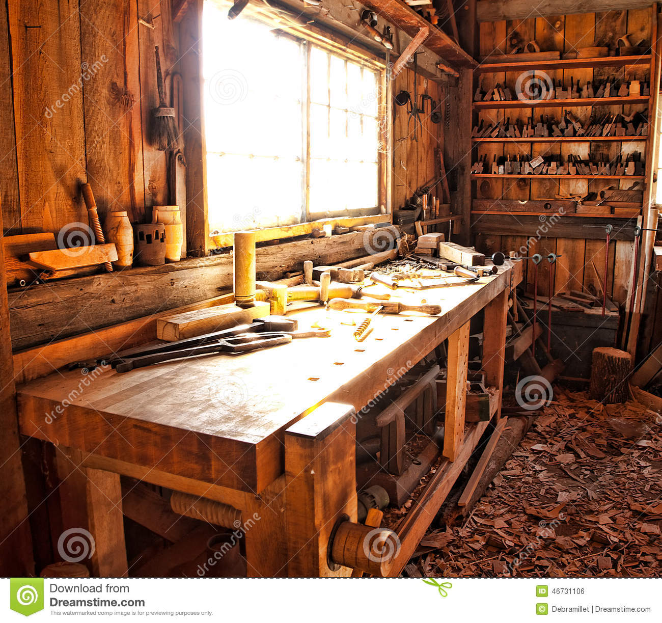 Woodworkers Shop Stock Photo Image Of Messy Barn