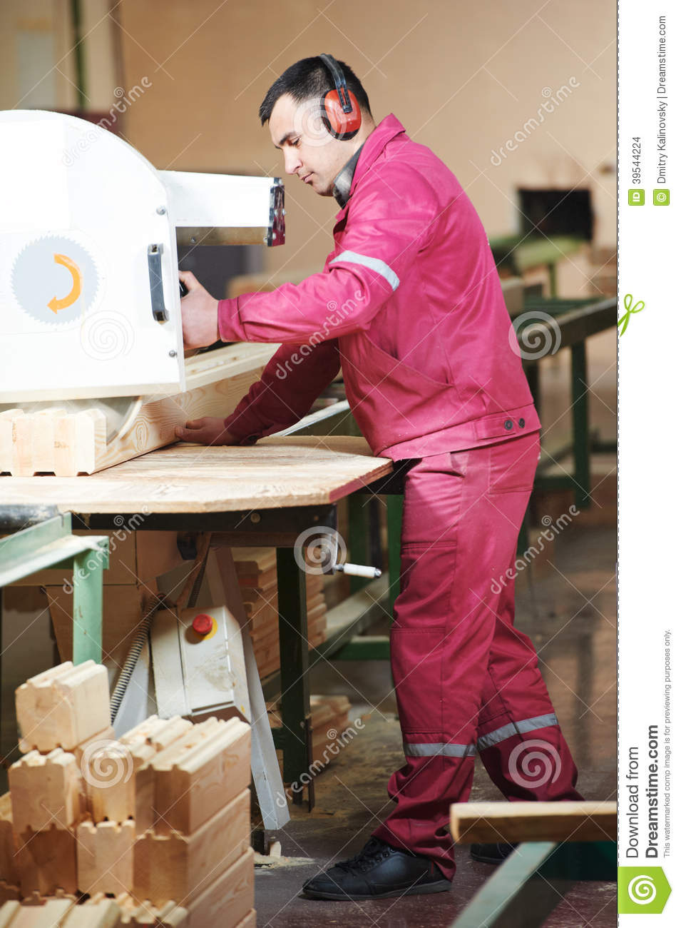Carpentry Carpenter Woodworker Woodworking Wooden: Woodworking Of Beam At Factory Stock Photo