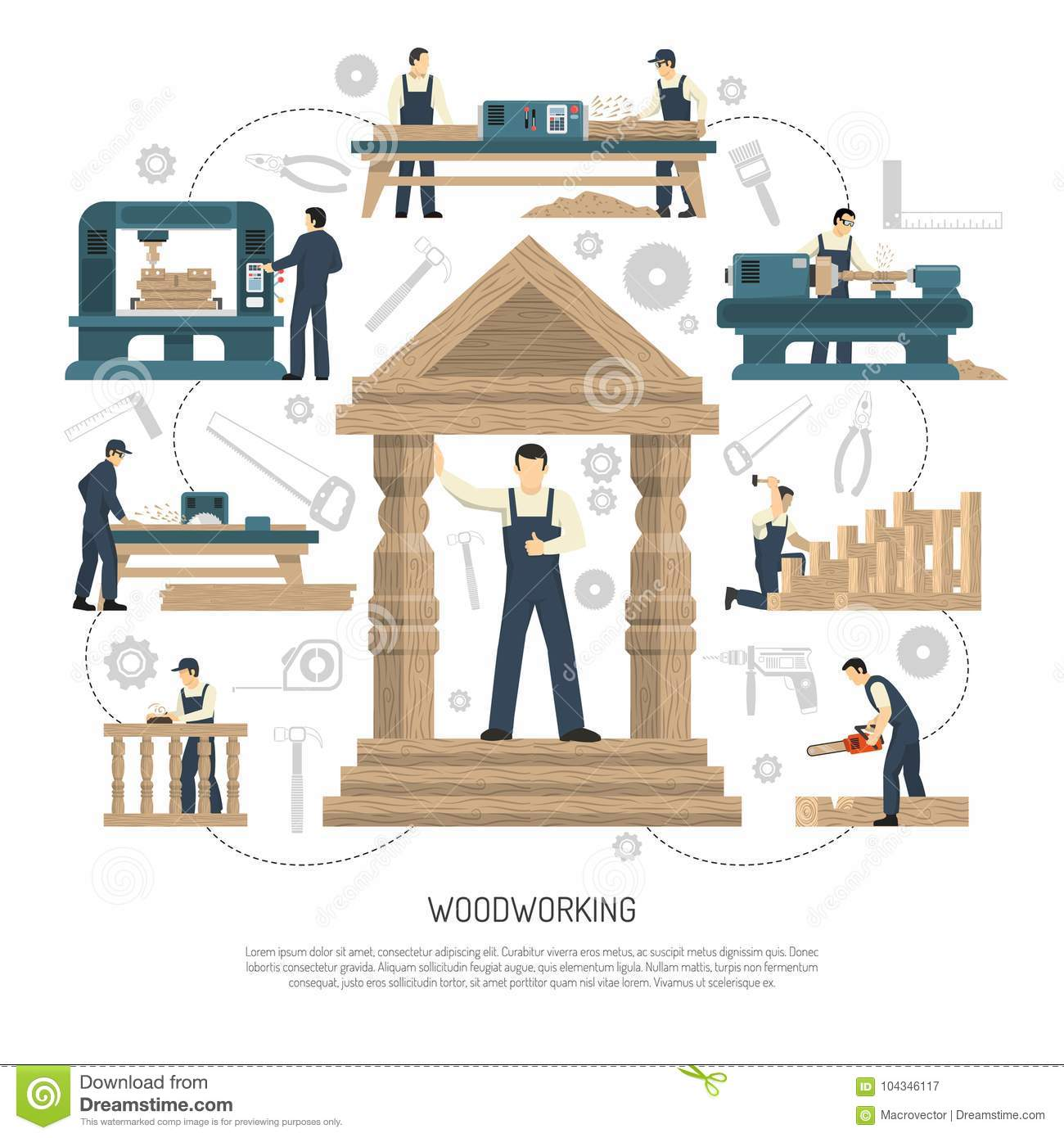 Woodworking People Background Composition