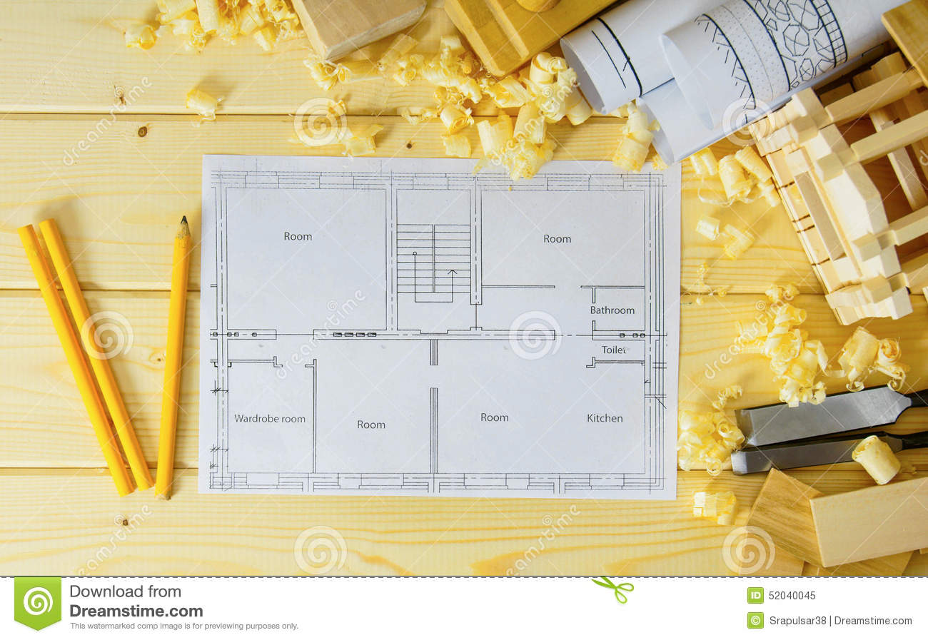 Woodworking Drawings For Building Small House Stock Image Image