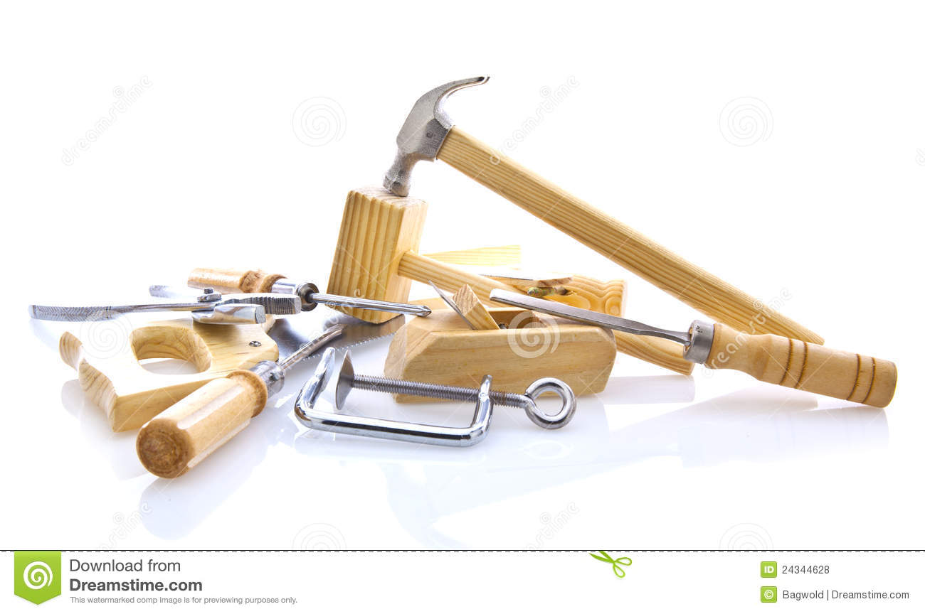Woodworking Hand Tools On White Royalty Free Stock Photos - Image ...