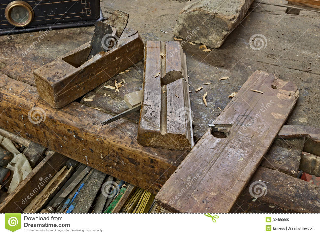 ... on the carpenter's bench - ancient carpentry tools for woodworking