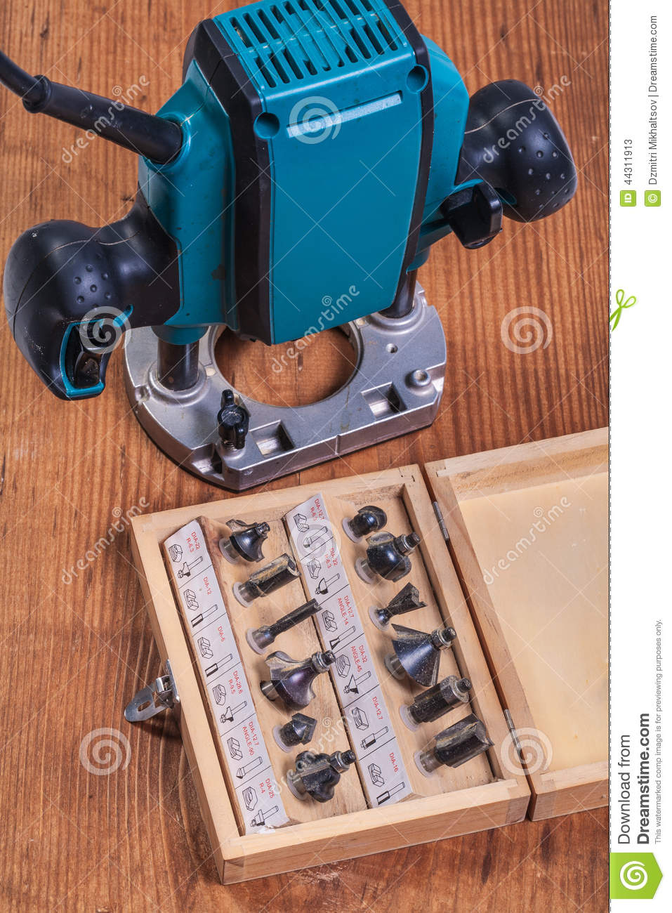 woodworking tools set of roundover router bits in box and plun stock image image of milling. Black Bedroom Furniture Sets. Home Design Ideas