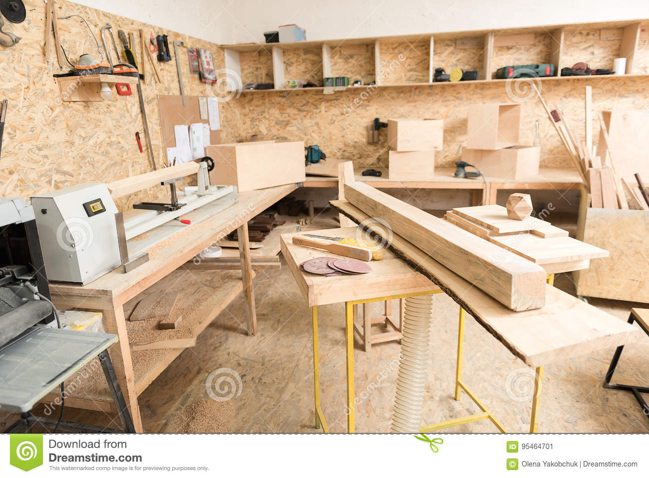 woodworking tools are in workshop stock image - image of