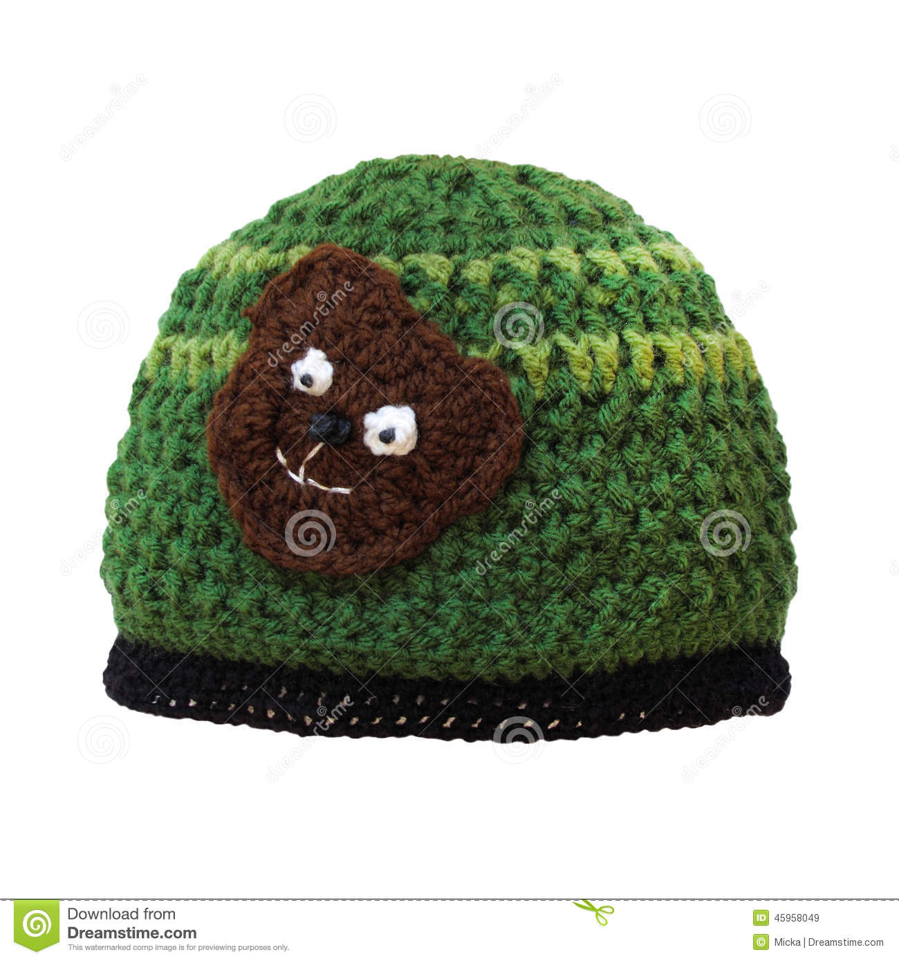 22c8691373a Woolen cap with teddy bear for child isolated on white. Crochet handmade  cute hat.