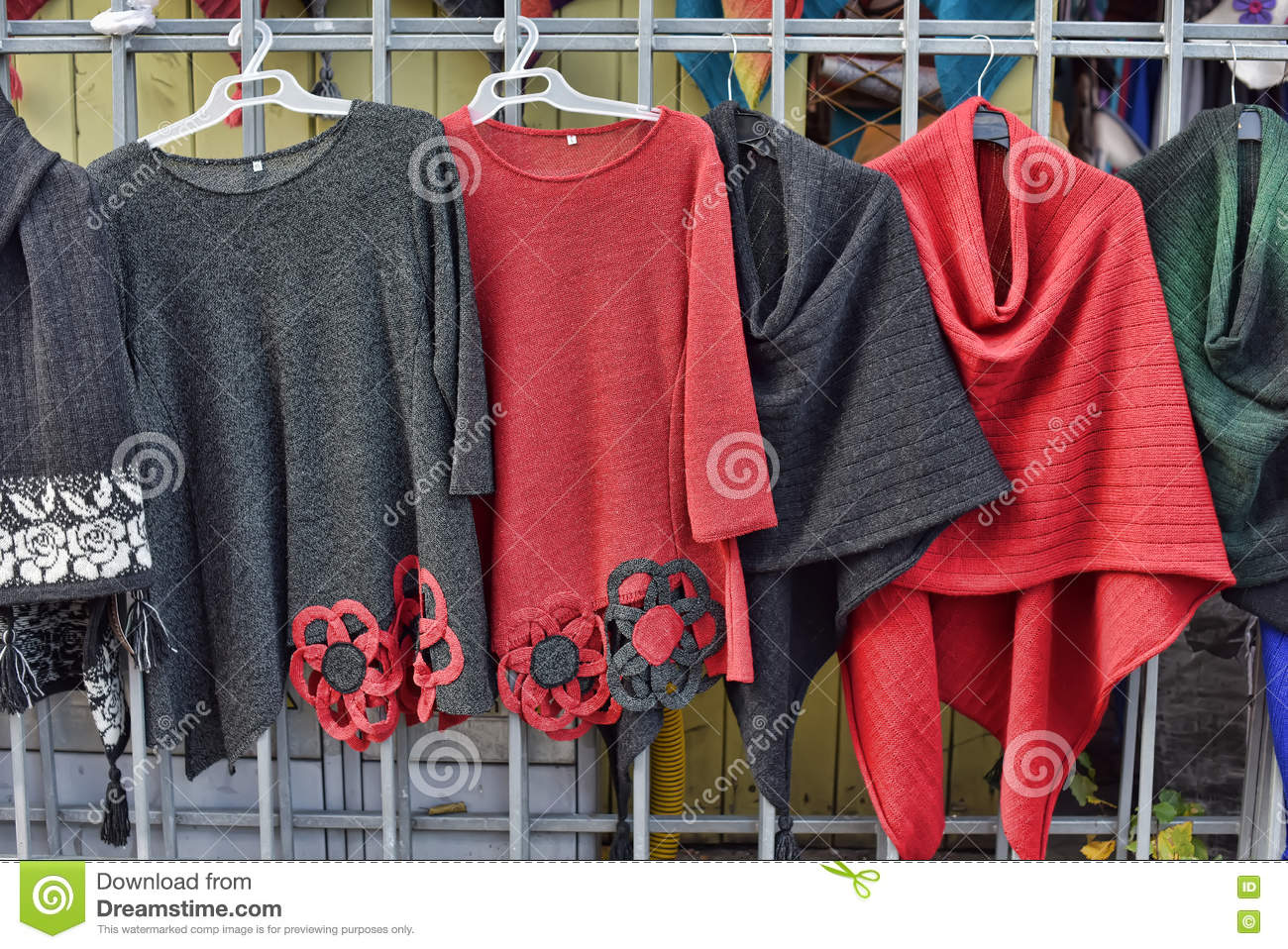 Woolen Hand Knitted Clothes In Tallinn,Estonia Stock Image - Image