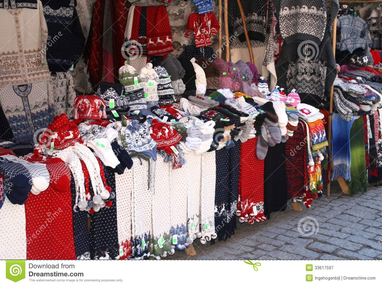 woolen hand knitted clothing and accessories in tallinn  estonia royalty free stock photography