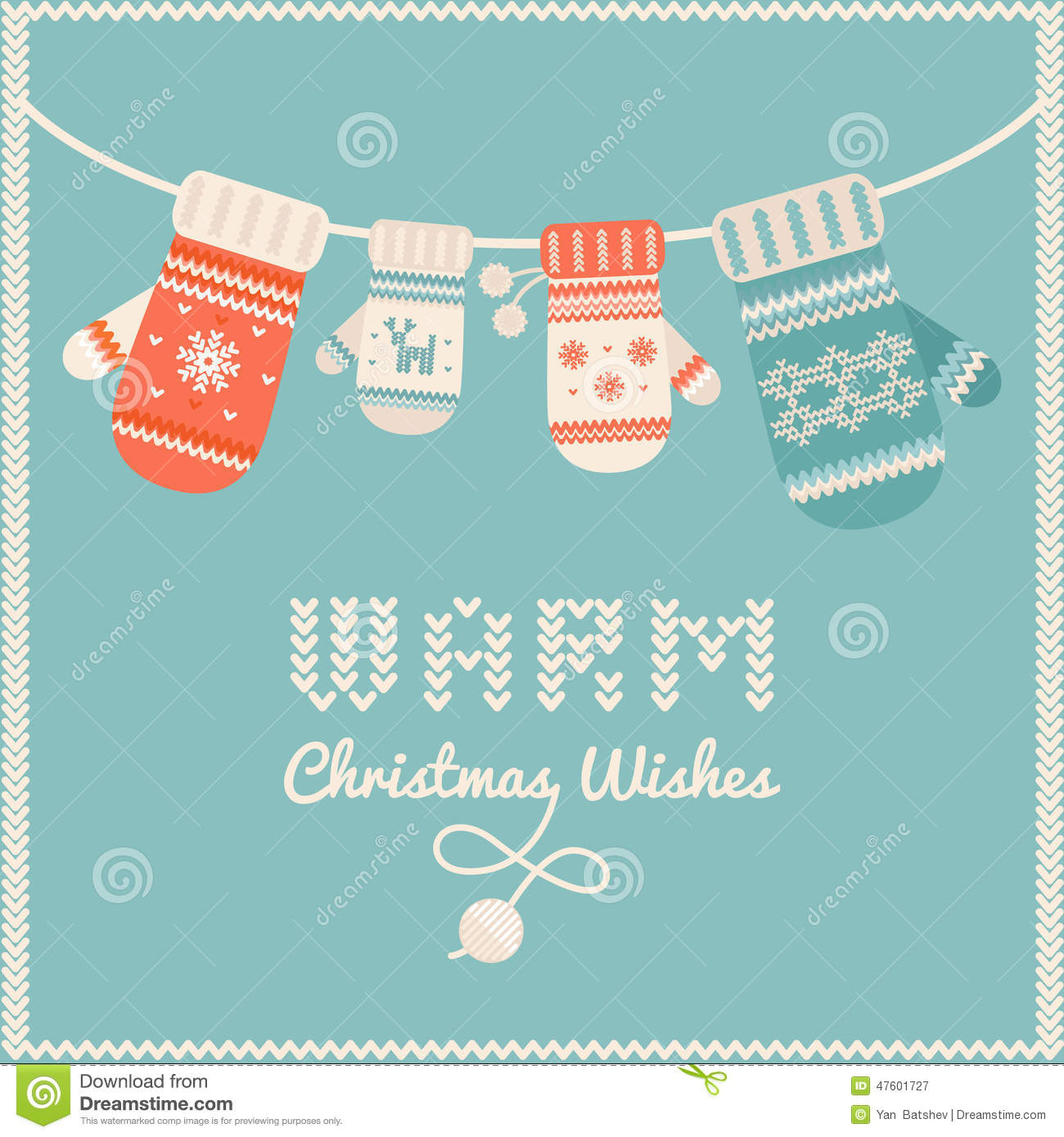 woolen mittens hanging on a line christmas card or background - How To Sign A Christmas Card