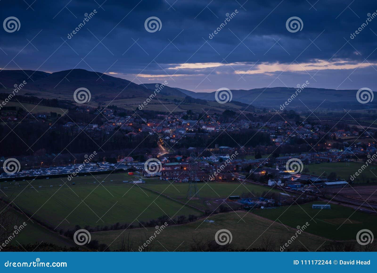 Wooler Town en crepúsculo
