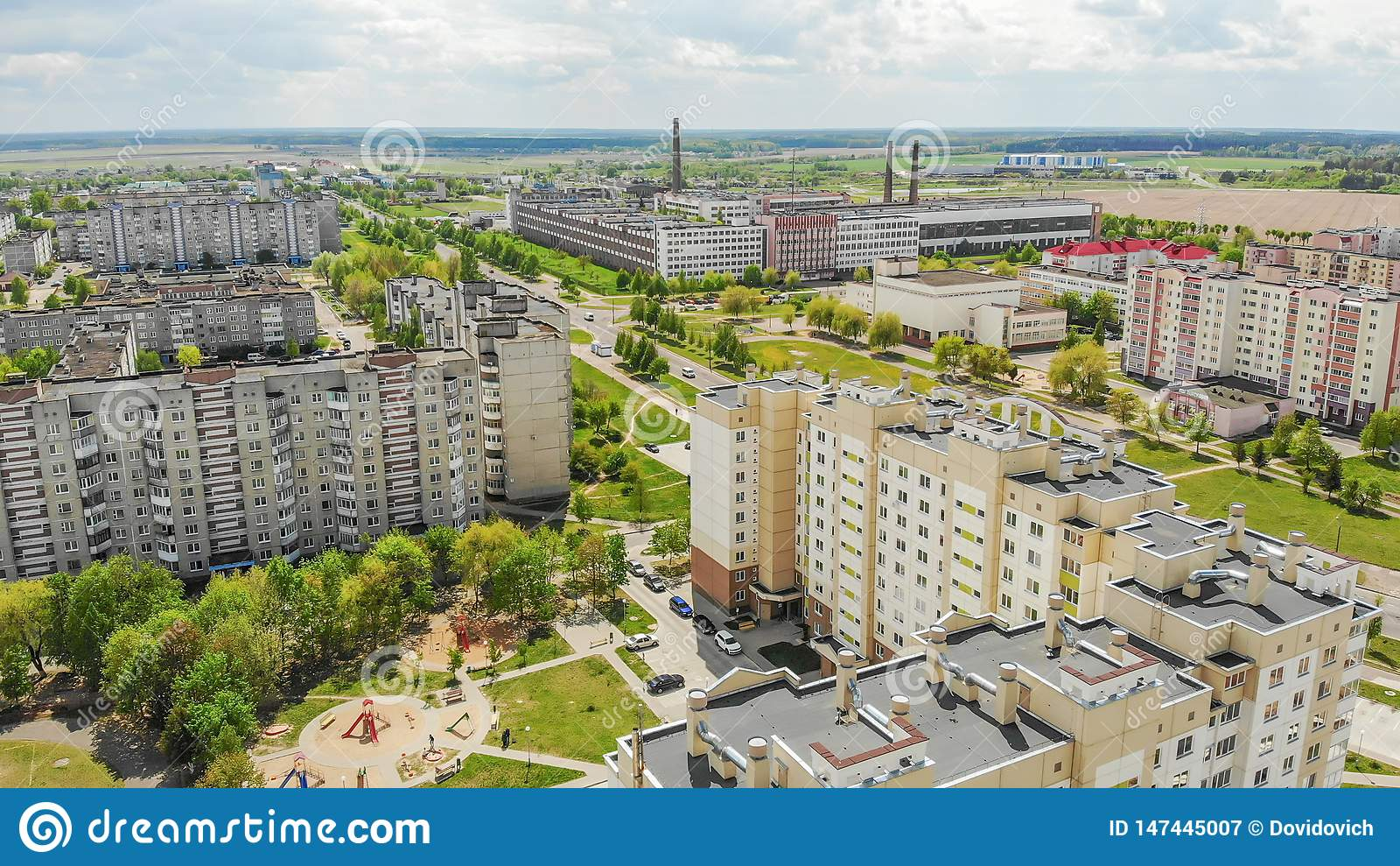 Woonbuurt Sloboda Stad Lida wit-rusland Mei 2019 Lucht Mening