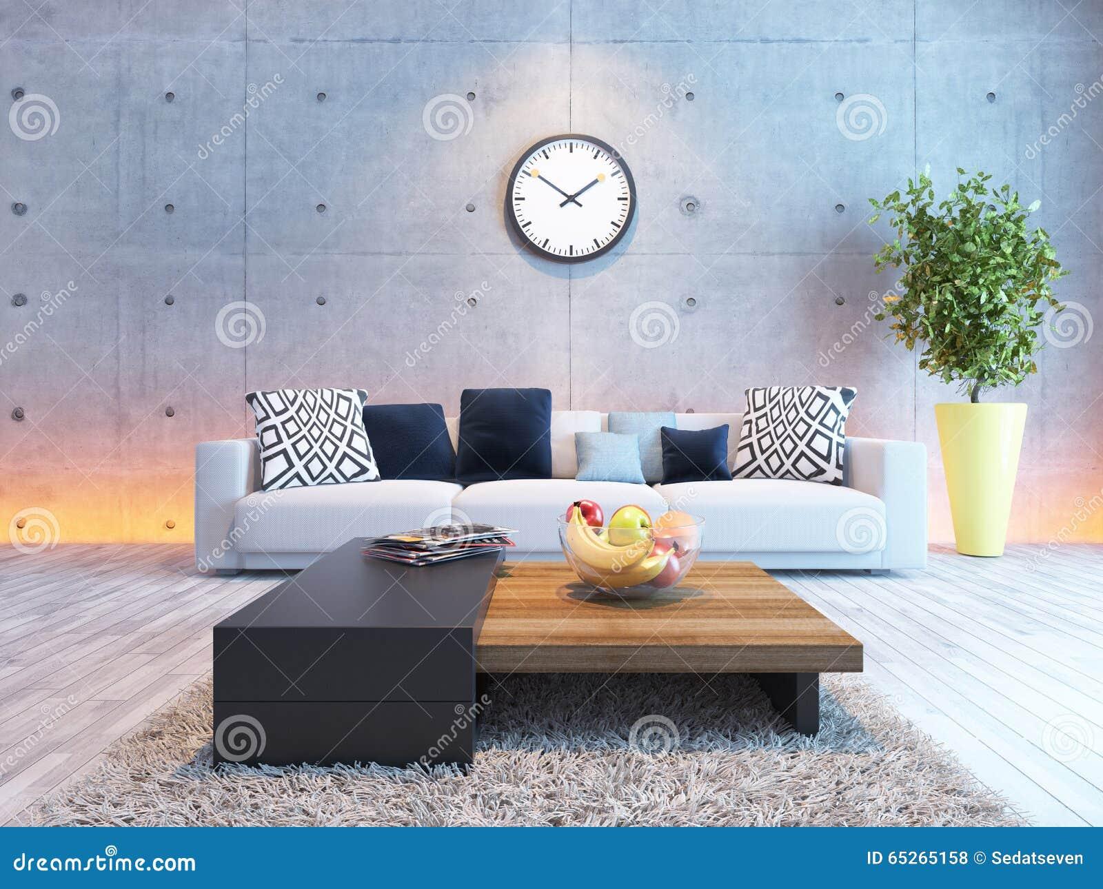 3d Woonkamer Ontwerpen : Woonkamer binnenlands ontwerp met onder lichte concrete muur stock