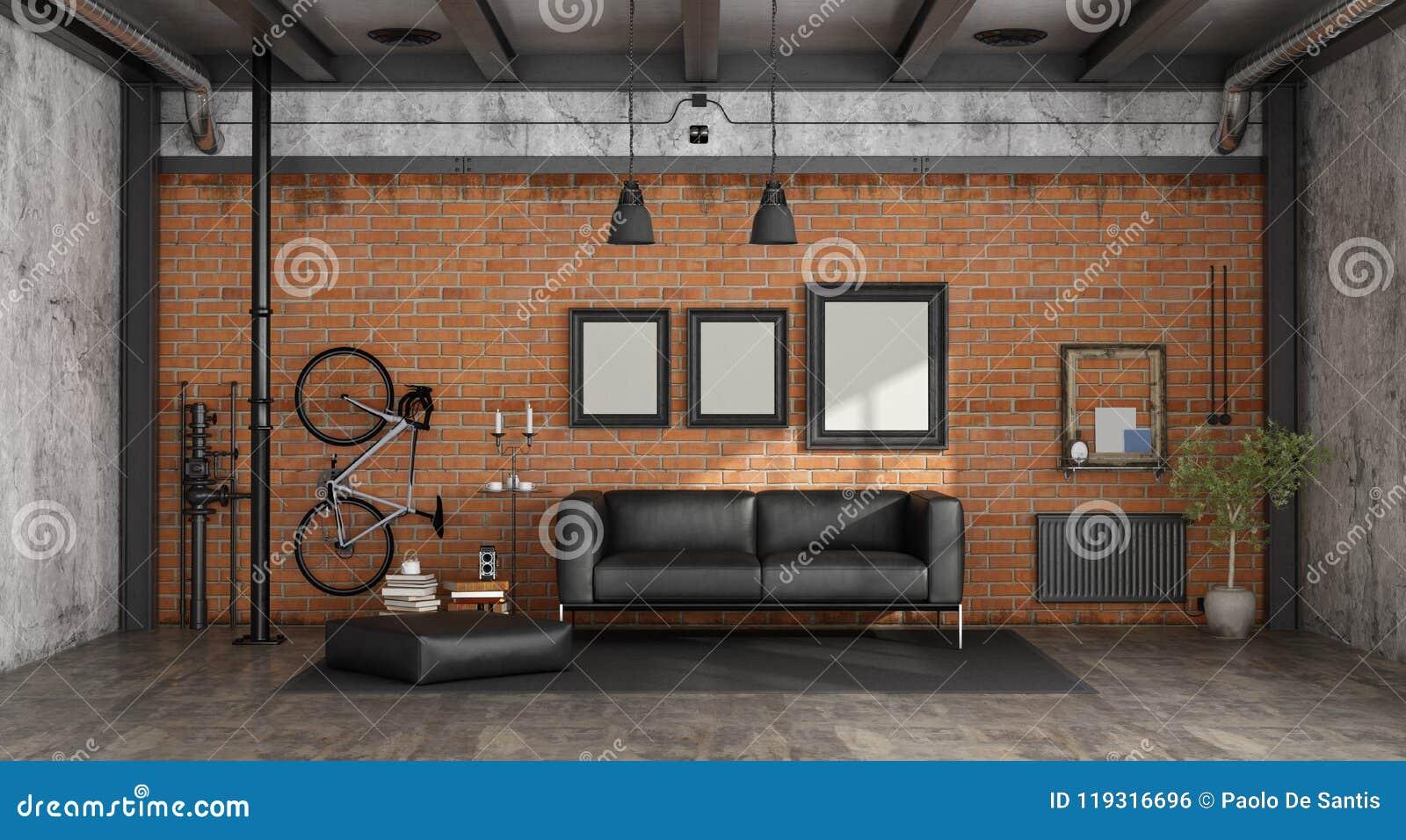 Woonkamer Op Zolder : Woonkamer in een zolder stock illustratie. illustratie bestaande uit