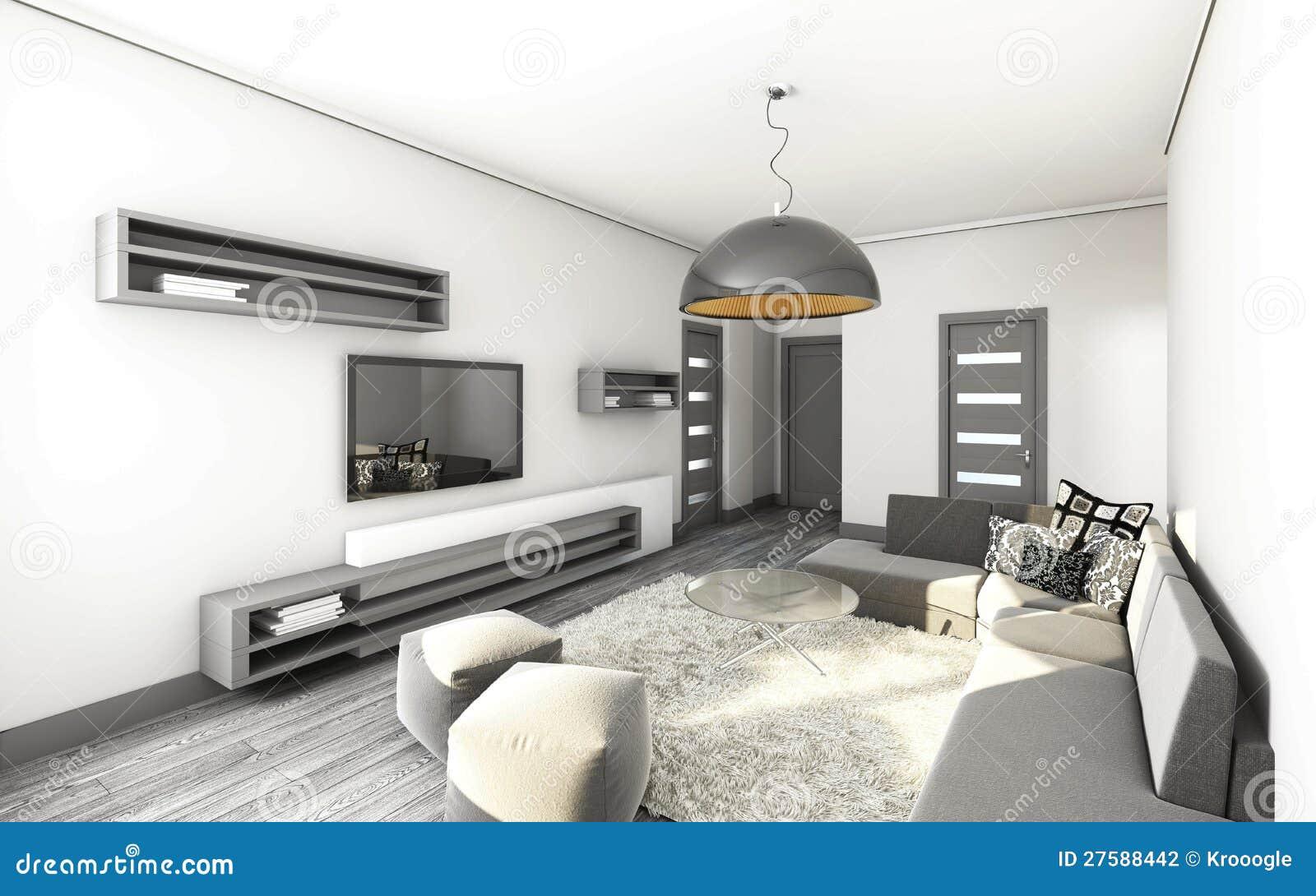 Woonkamer in grijs stock illustratie. Illustratie bestaande uit ...