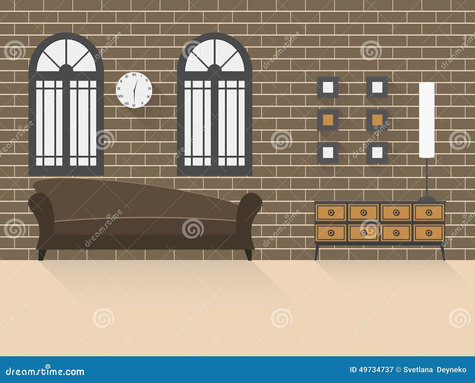 Woonkamer met bakstenen muur 2 vector illustratie afbeelding ...