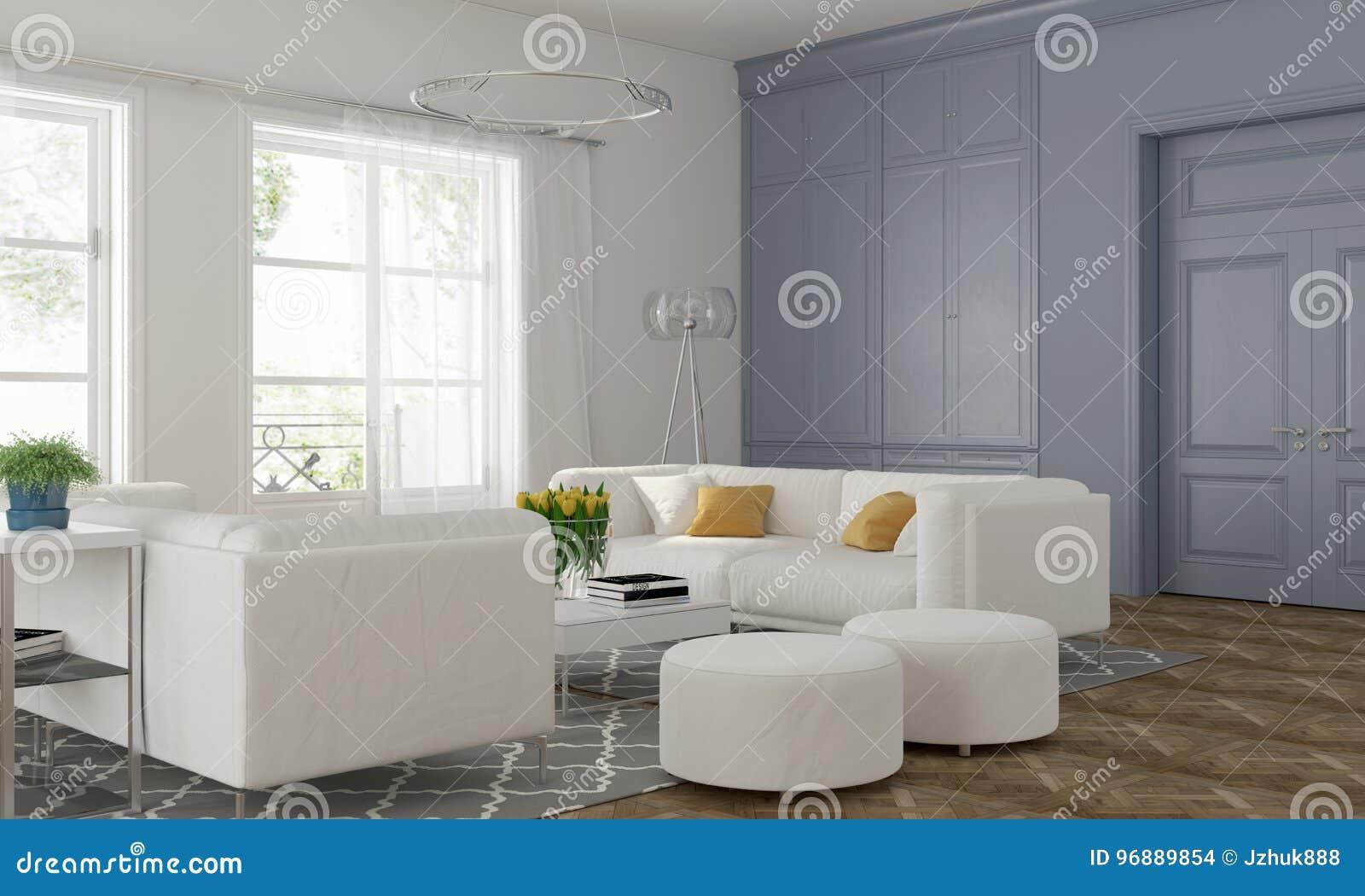 Woonkamer met blauwe muur stock illustratie. Illustratie bestaande ...