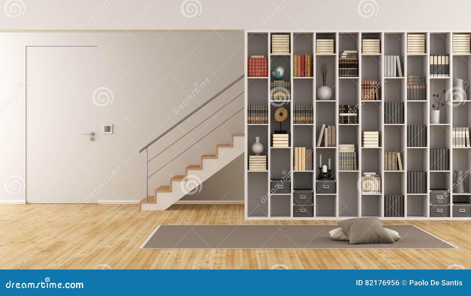 Trap In Woonkamer : Woonkamer met boekenkast en trap stock illustratie illustratie