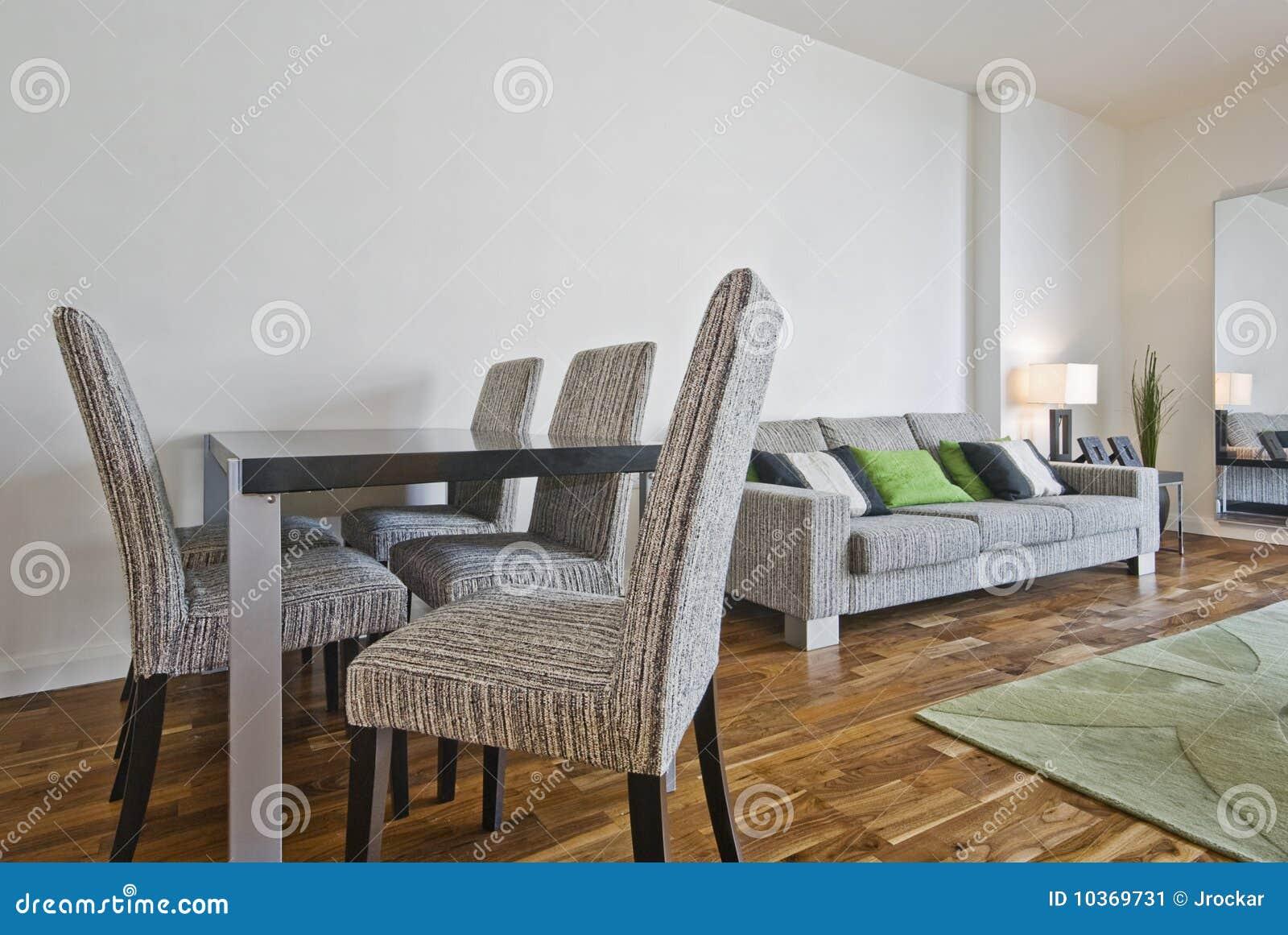 Woonkamer met eettafel stock afbeelding afbeelding 10369731 - Deco moderne woonkamer ...