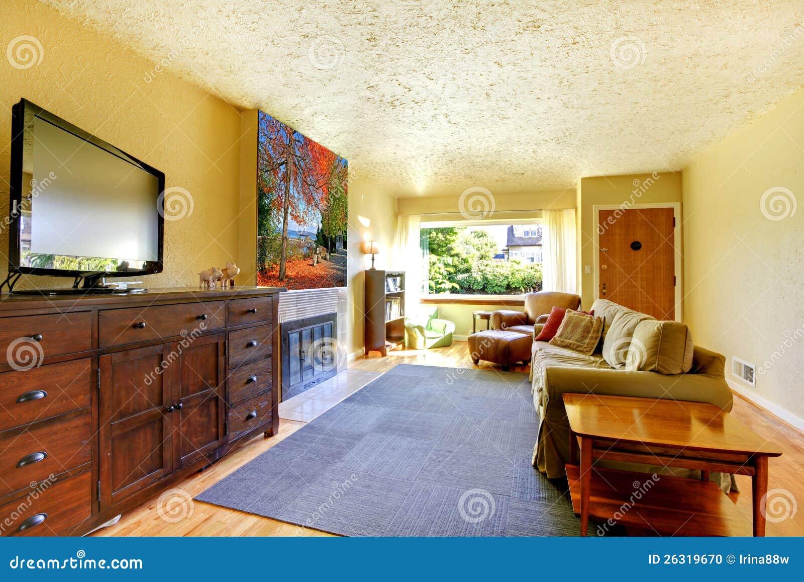 Woonkamer met grijze deken, gele muren en tv op grote opmaker ...