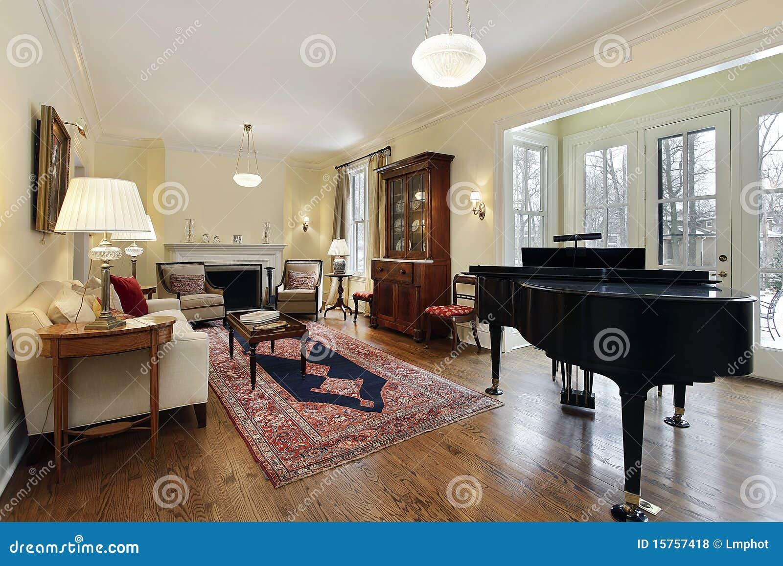 woonkamer met grote piano stock foto afbeelding bestaande uit stof 15757418. Black Bedroom Furniture Sets. Home Design Ideas