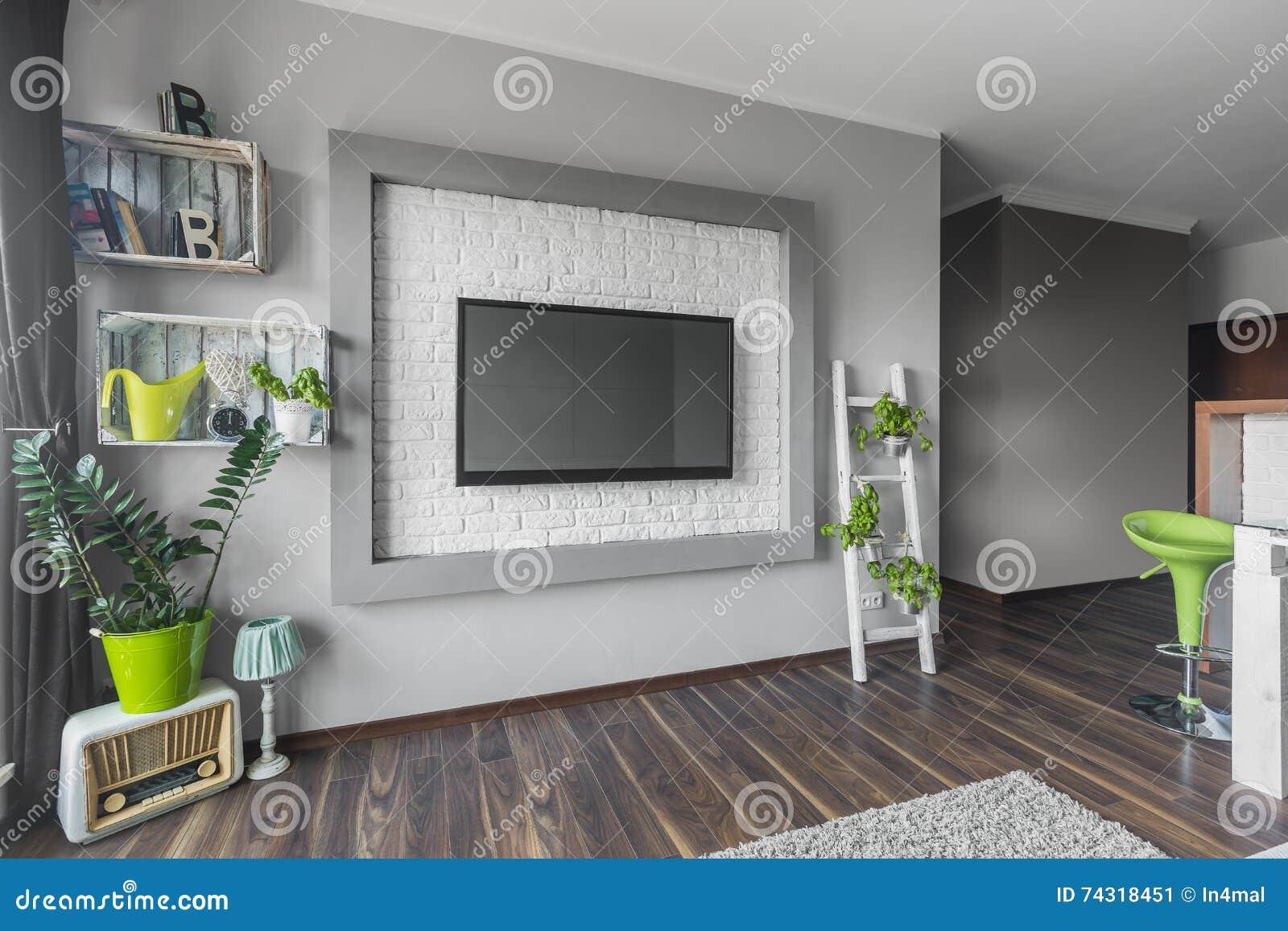 Grote Plant Woonkamer : Woonkamer met grote tv stock afbeelding afbeelding bestaande uit