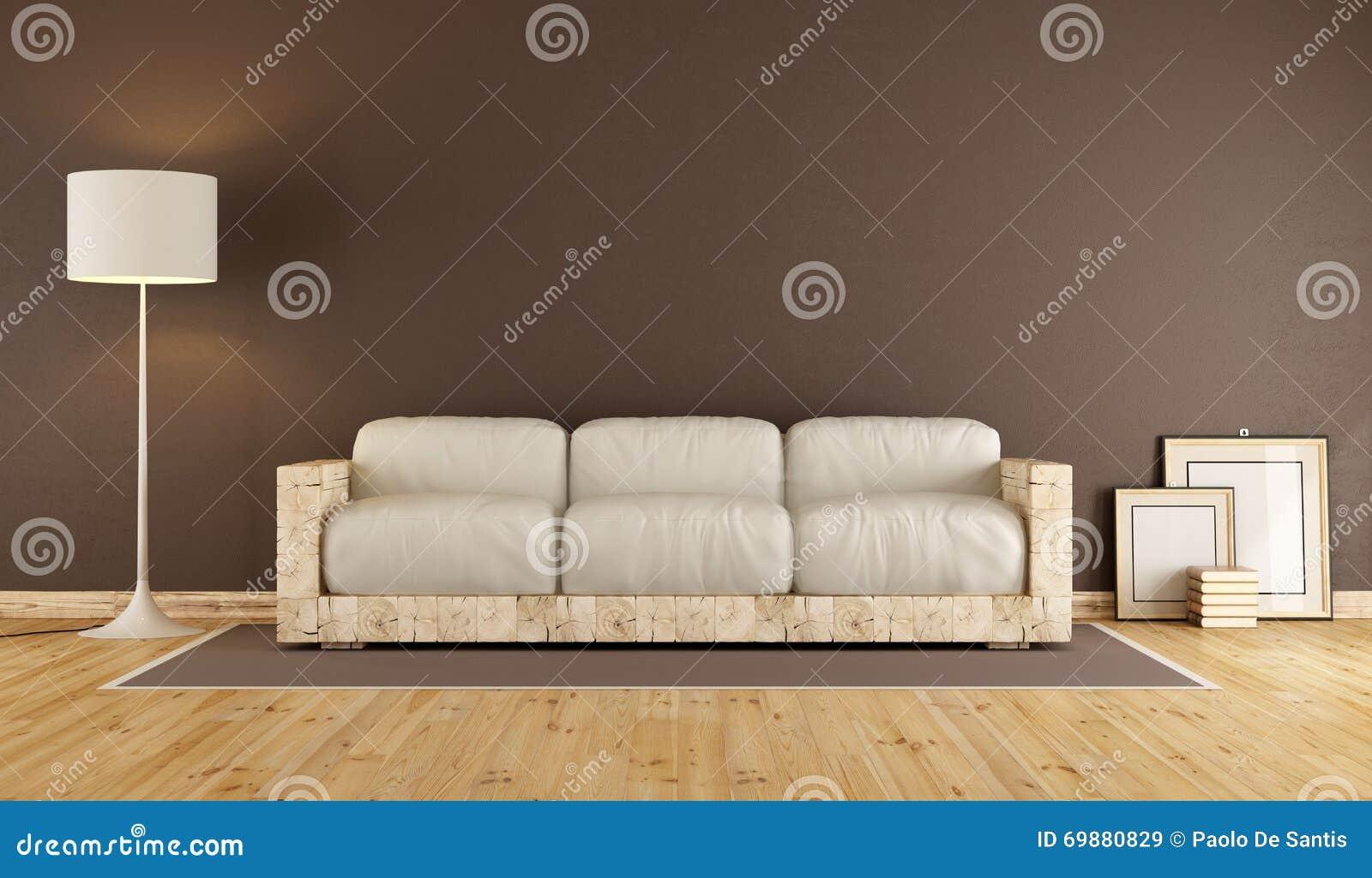 Woonkamer met houten bank stock illustratie   afbeelding: 69880829