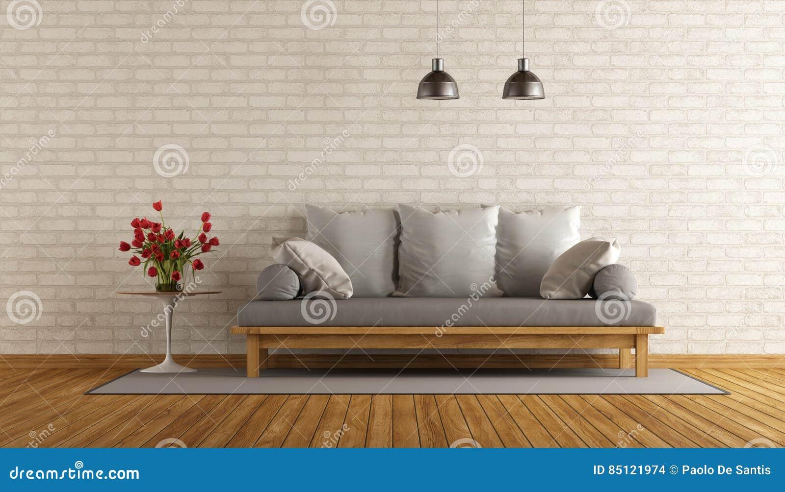 Woonkamer met houten bank stock illustratie. Illustratie bestaande ...