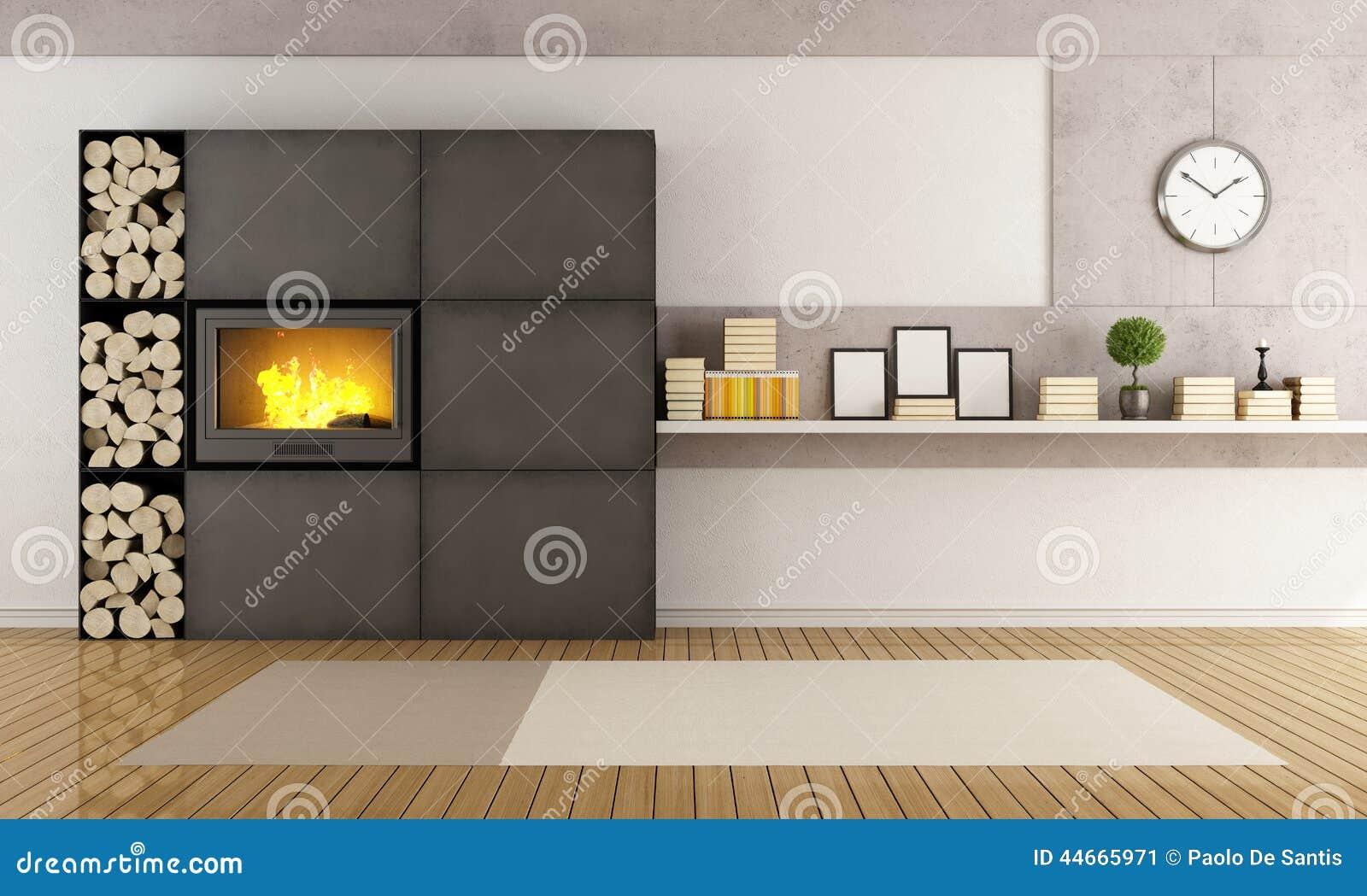 Woonkamer met moderne open haard stock illustratie illustratie