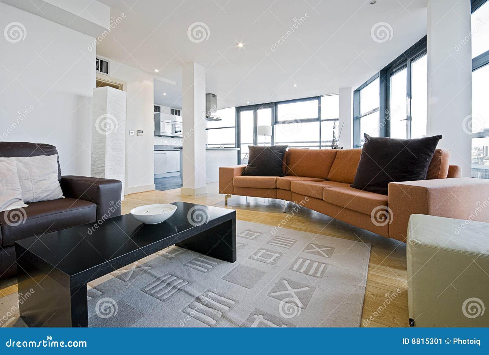 Woonkamer met oranje bank stock afbeelding beeld 8815301 - Afbeelding eigentijdse woonkamer ...