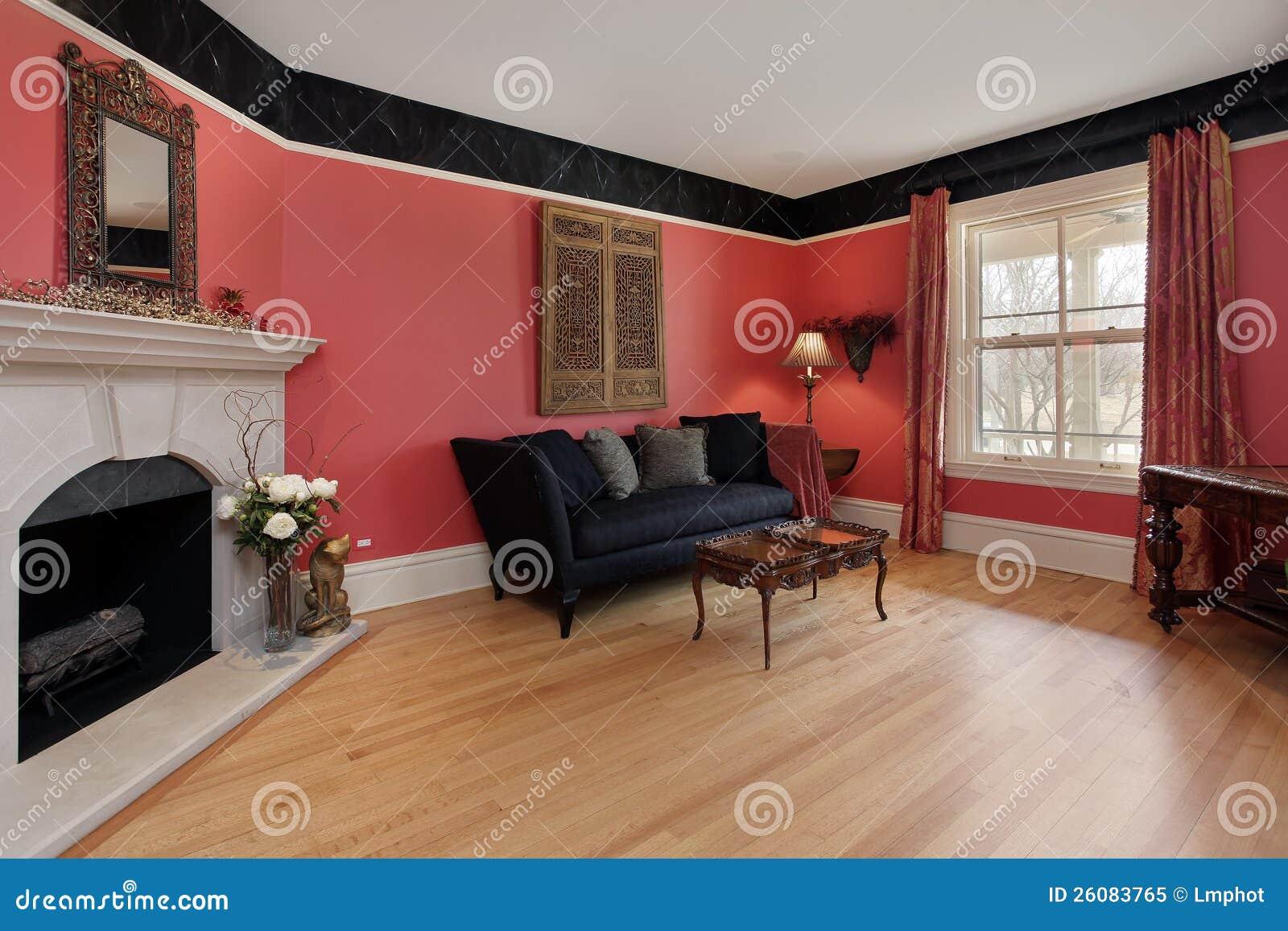 Woonkamer met rode muren royalty vrije stock foto   afbeelding ...