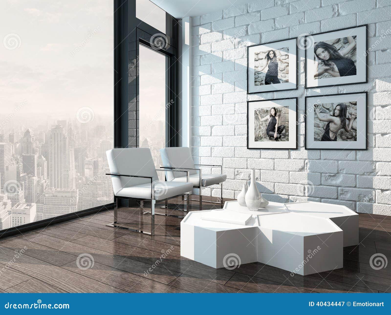 Woonkamer met groene muur for - Witte muur kamer ...