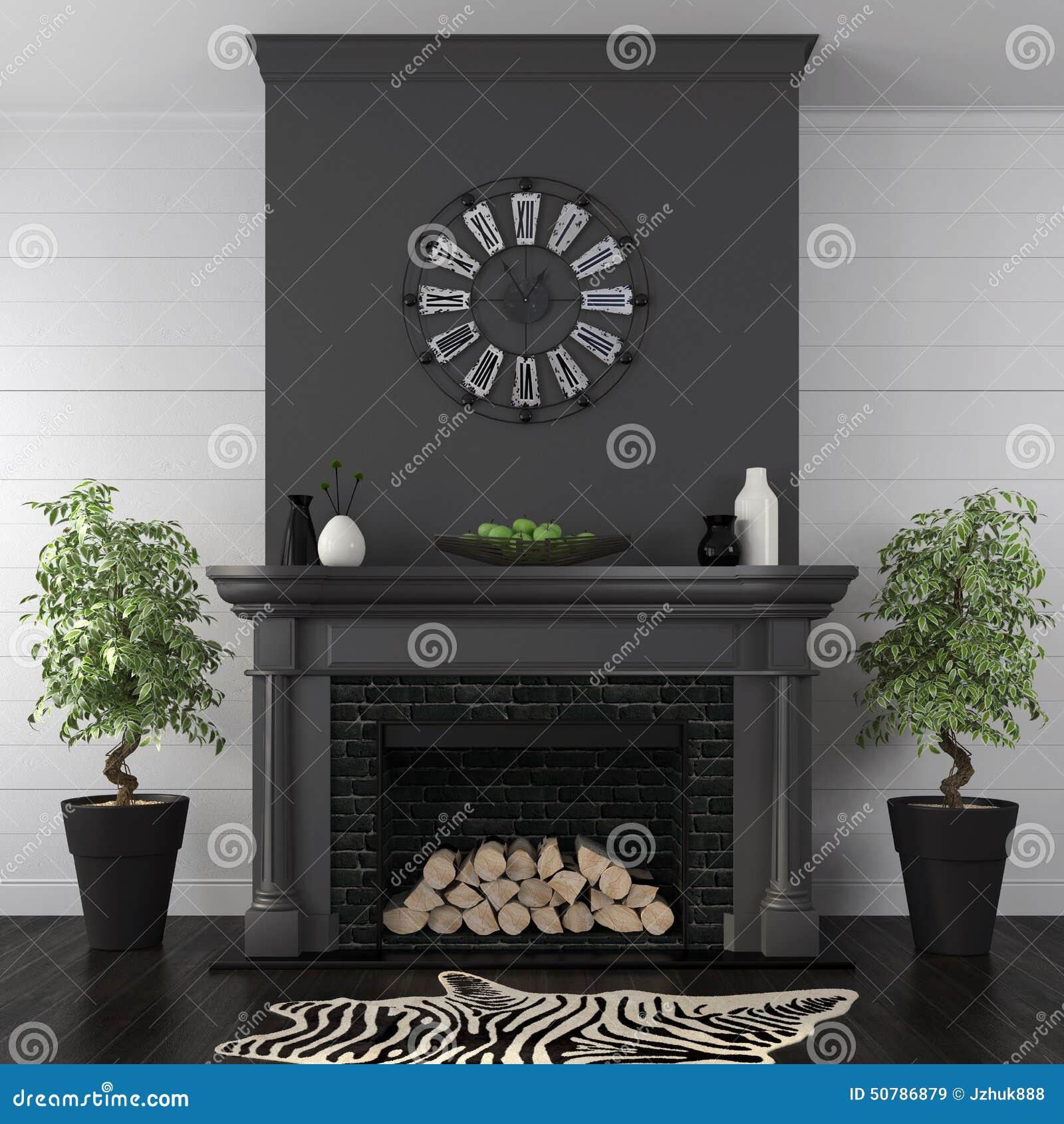 Woonkamer Met Zwarte Open Haard In Klassieke Stijl Stock Afbeelding   Afbeelding  50786879